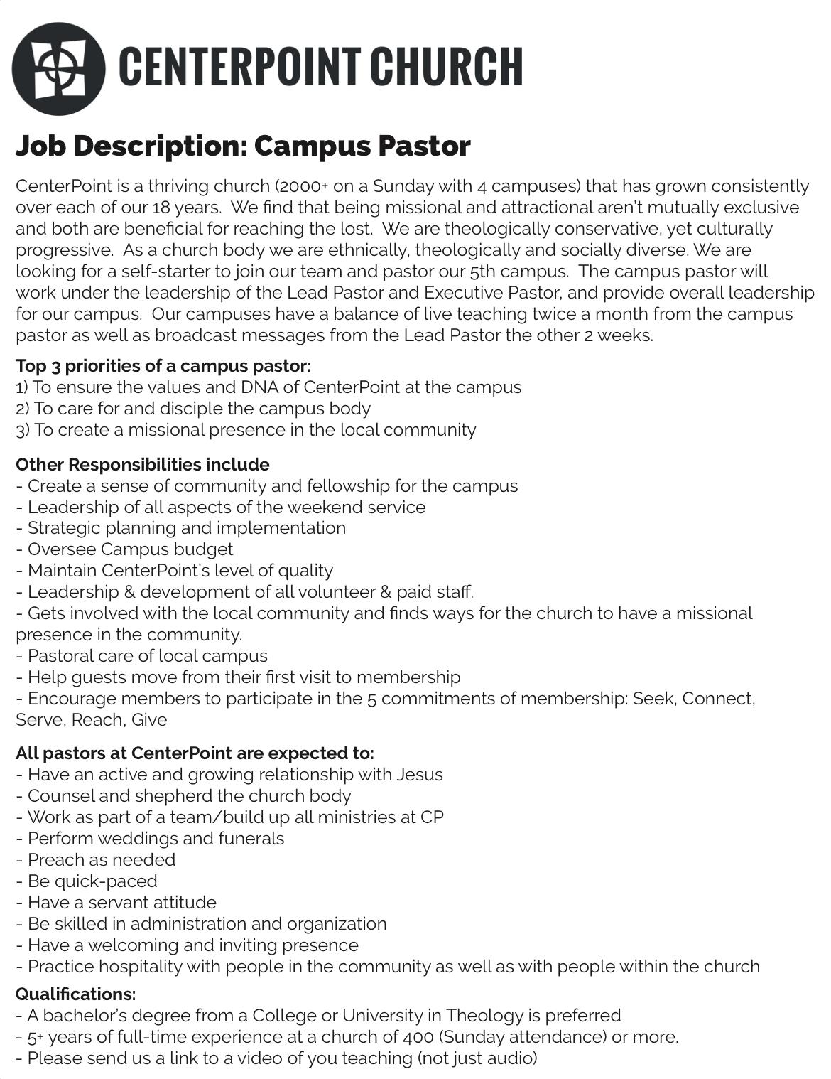 Centerpoint Campus Pastor Job Description