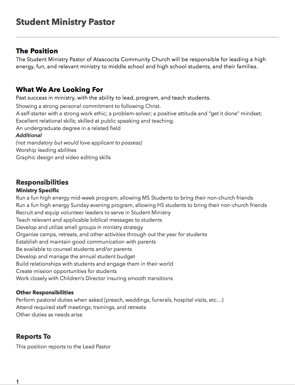 ACC Student Ministry Pastor Job Description