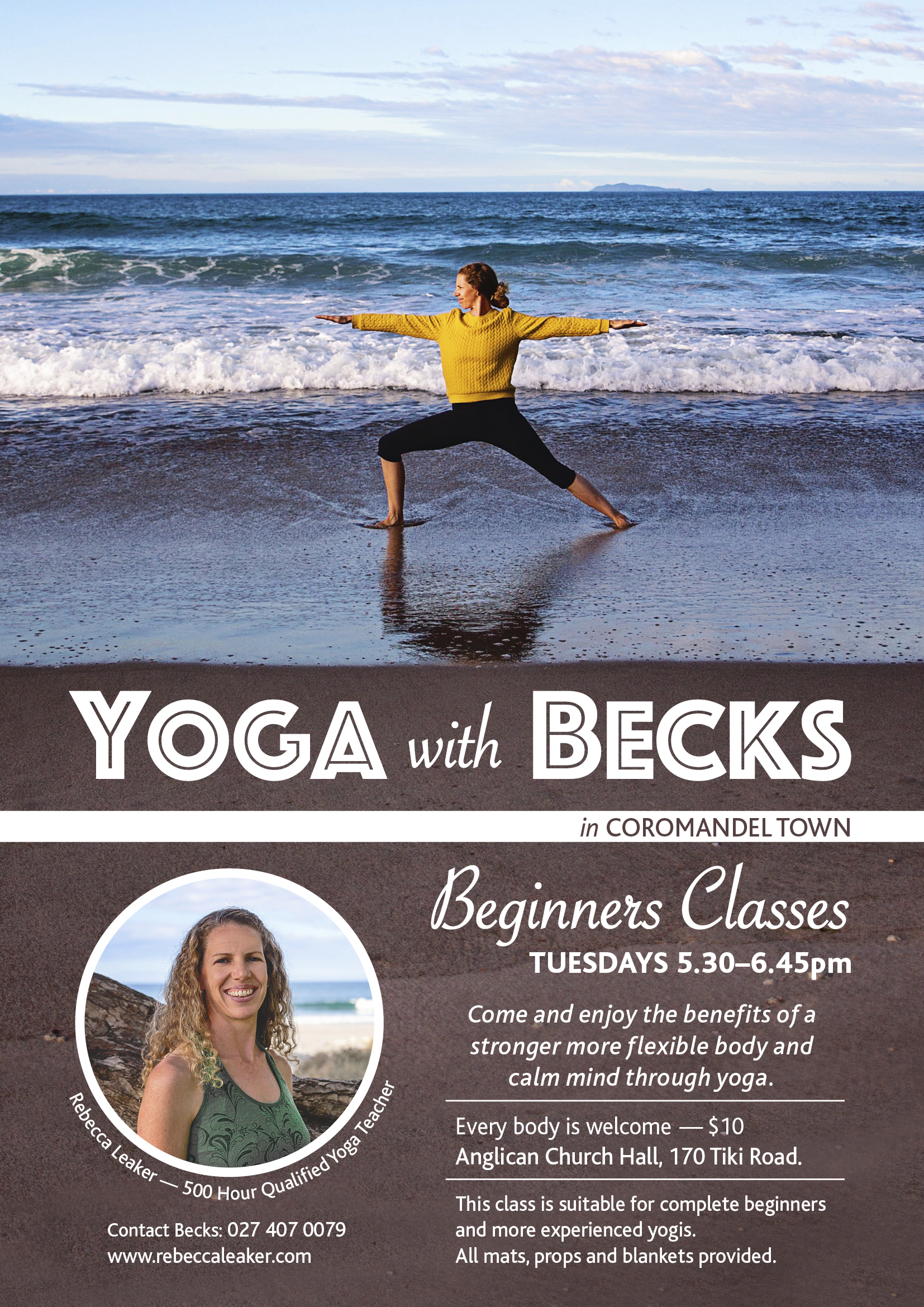 Posters for Coromandel Yoga Teacher Rebecca Leaker.