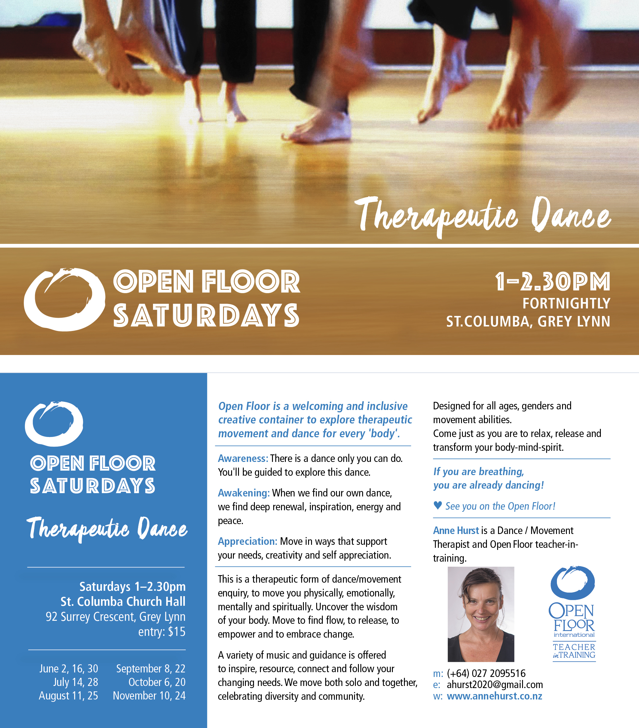 Flyer for Anne Hurst's Auckland Open Floor classes.