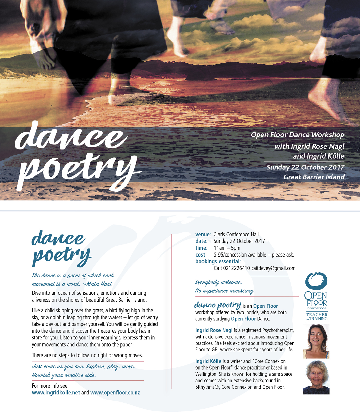 Workshop flyer for  Dance Poetry  on Great Barrier Island.