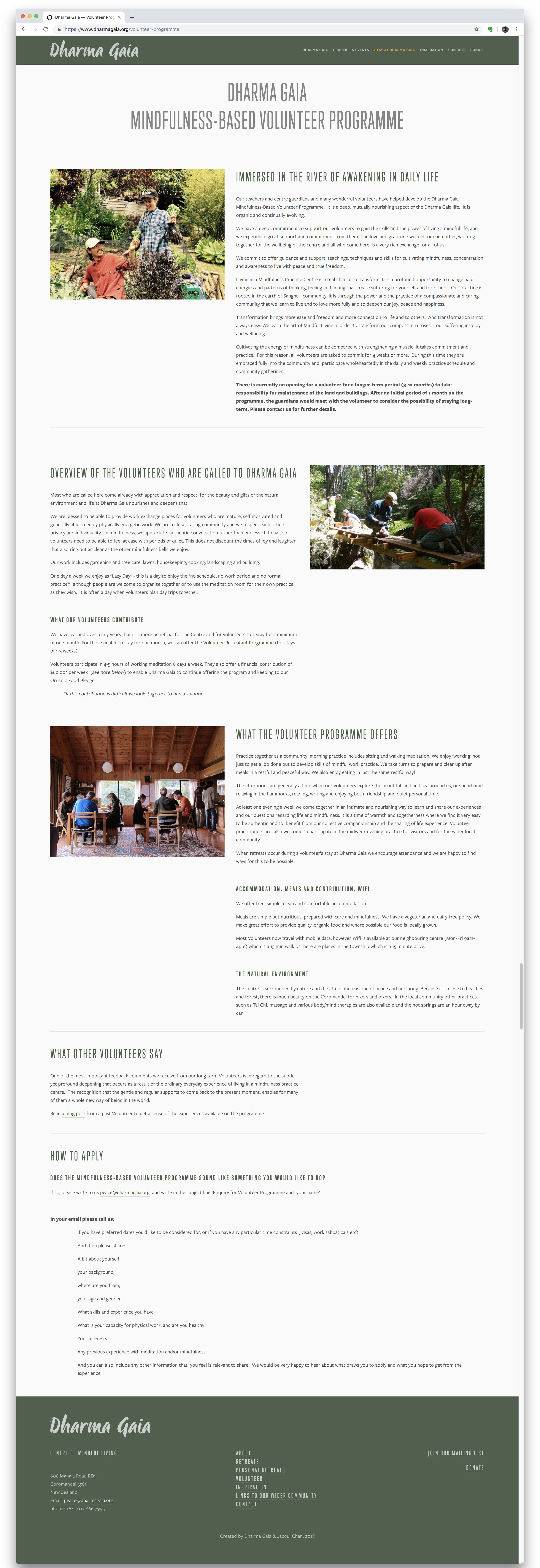 Volunteer Programme Page