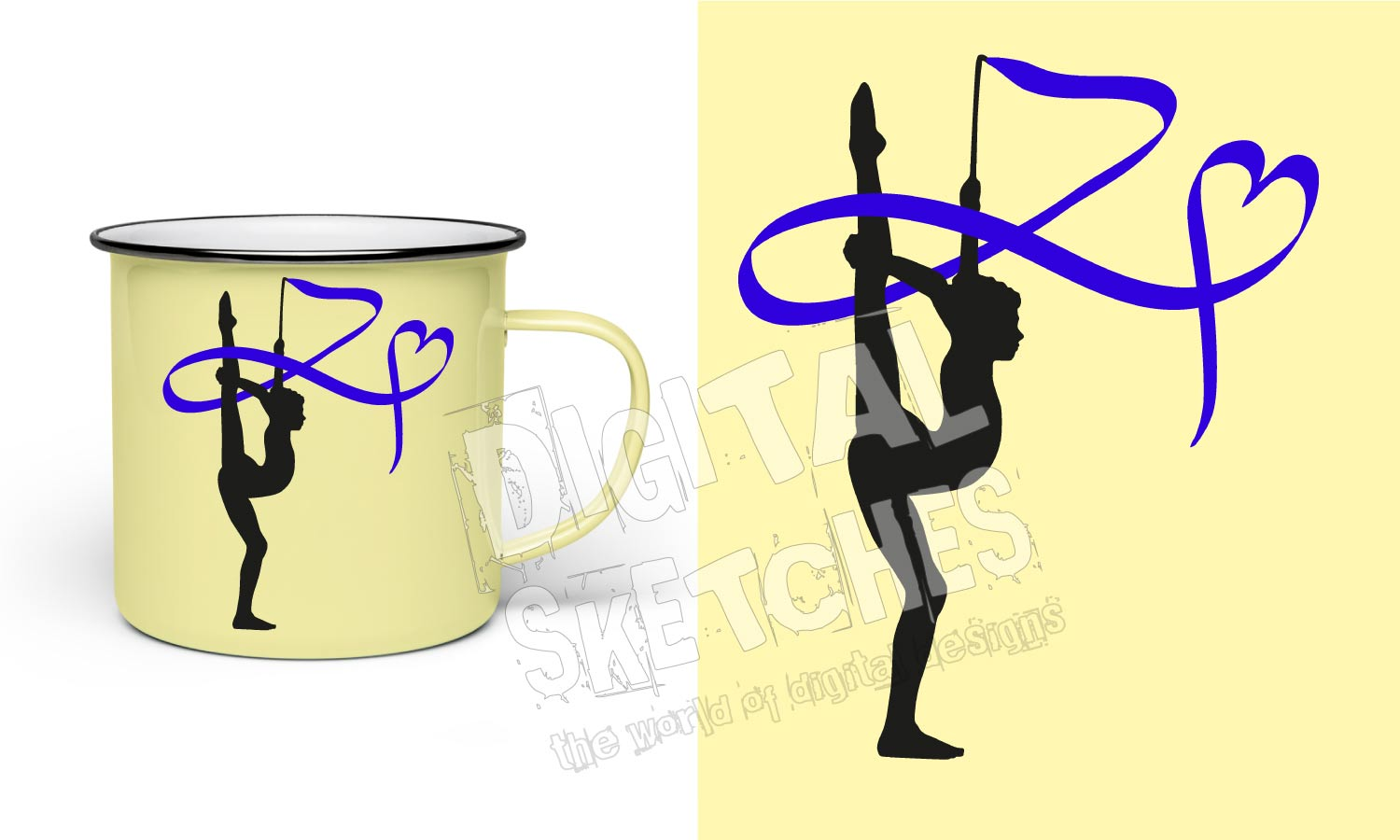 Digital Sketches Beautiful Rythmic Gymnastic Sportsperson With Heart Loop Vector Craft Files Svg Dxf Eps Png