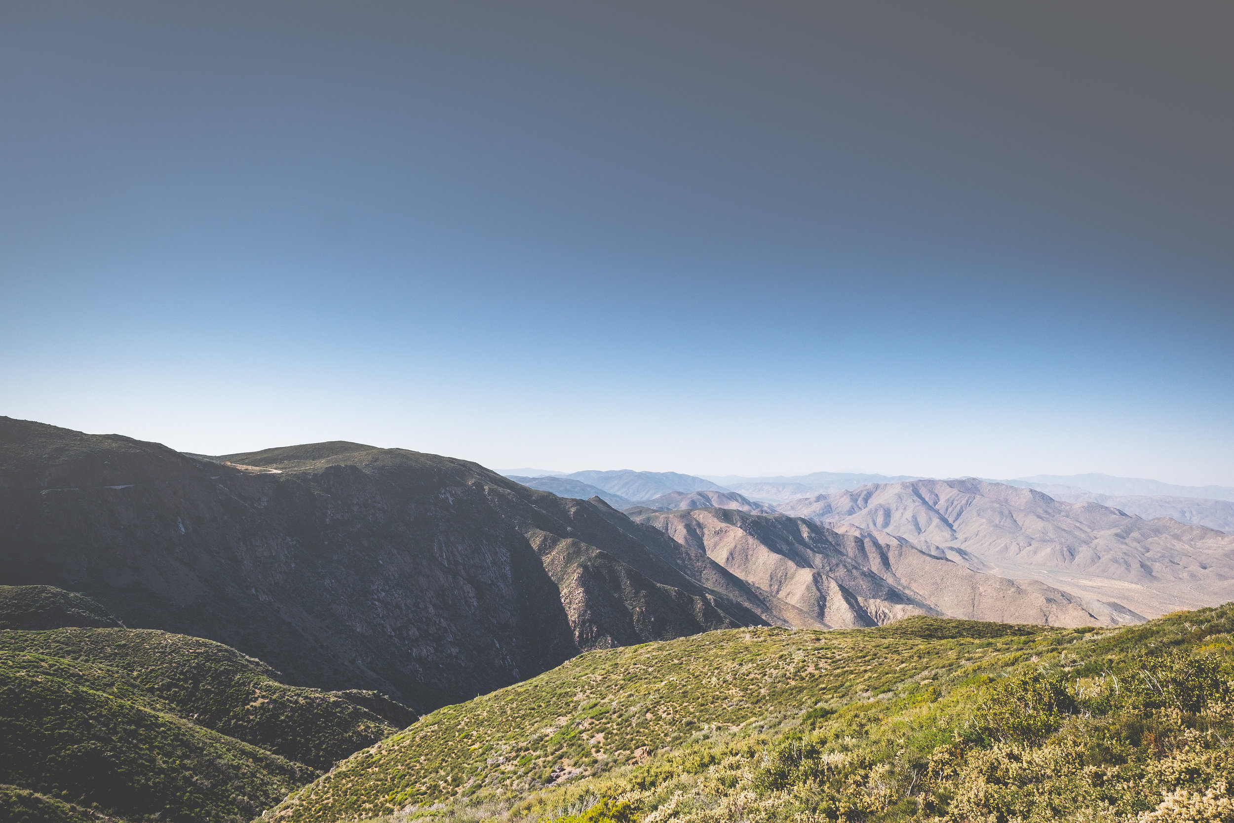 Looking down from the top of Mt. Laguna into the valley.
