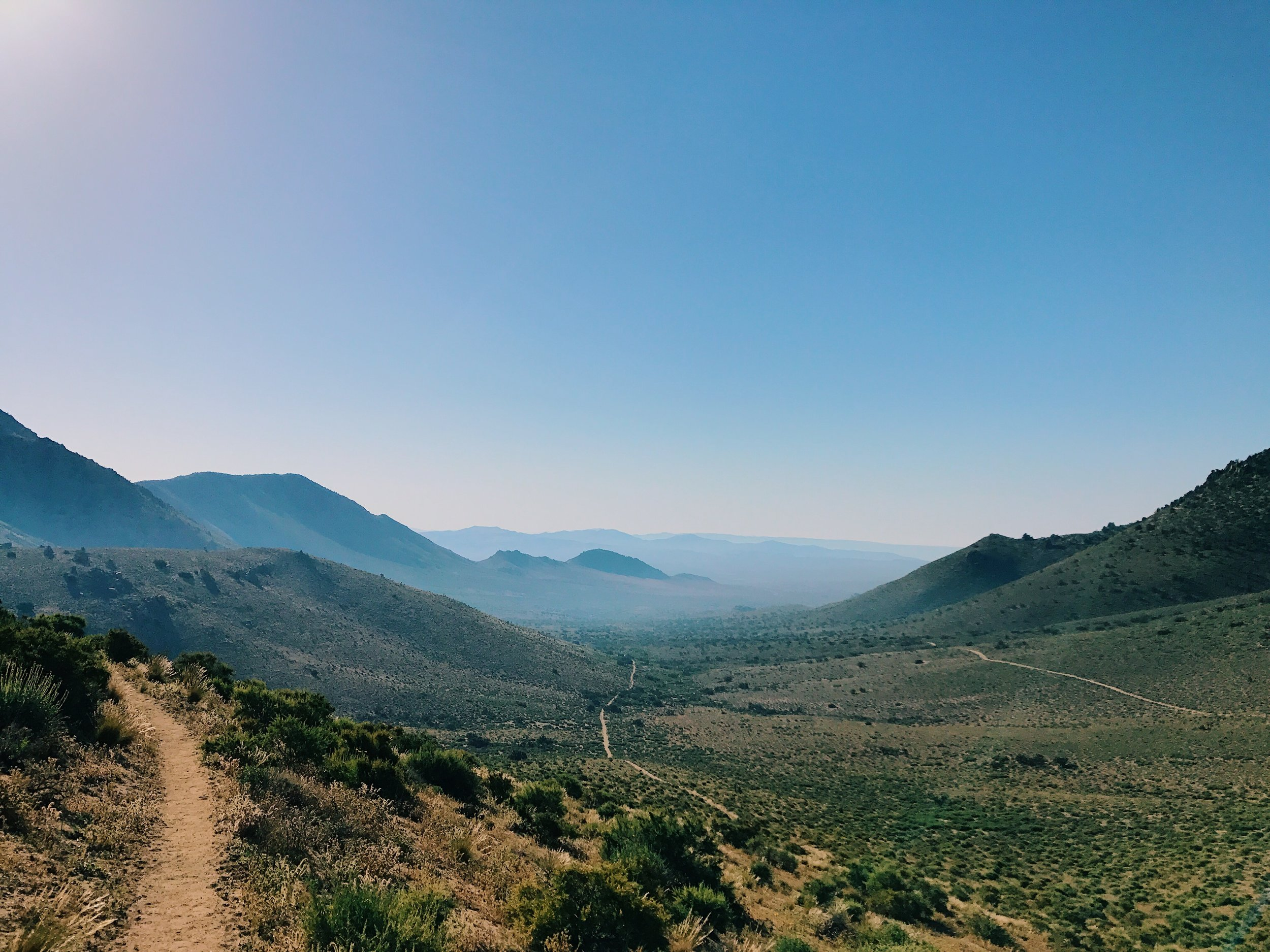 the trail wraps around hillsides and mountain tops. All painful climbing but the visuals provide rewards.