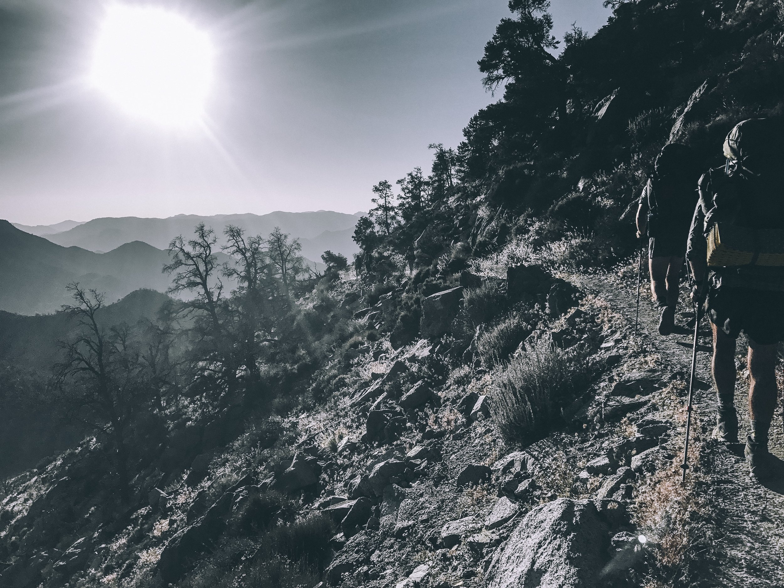 Making the climb out of Lake Isabella with Zorro and Viking