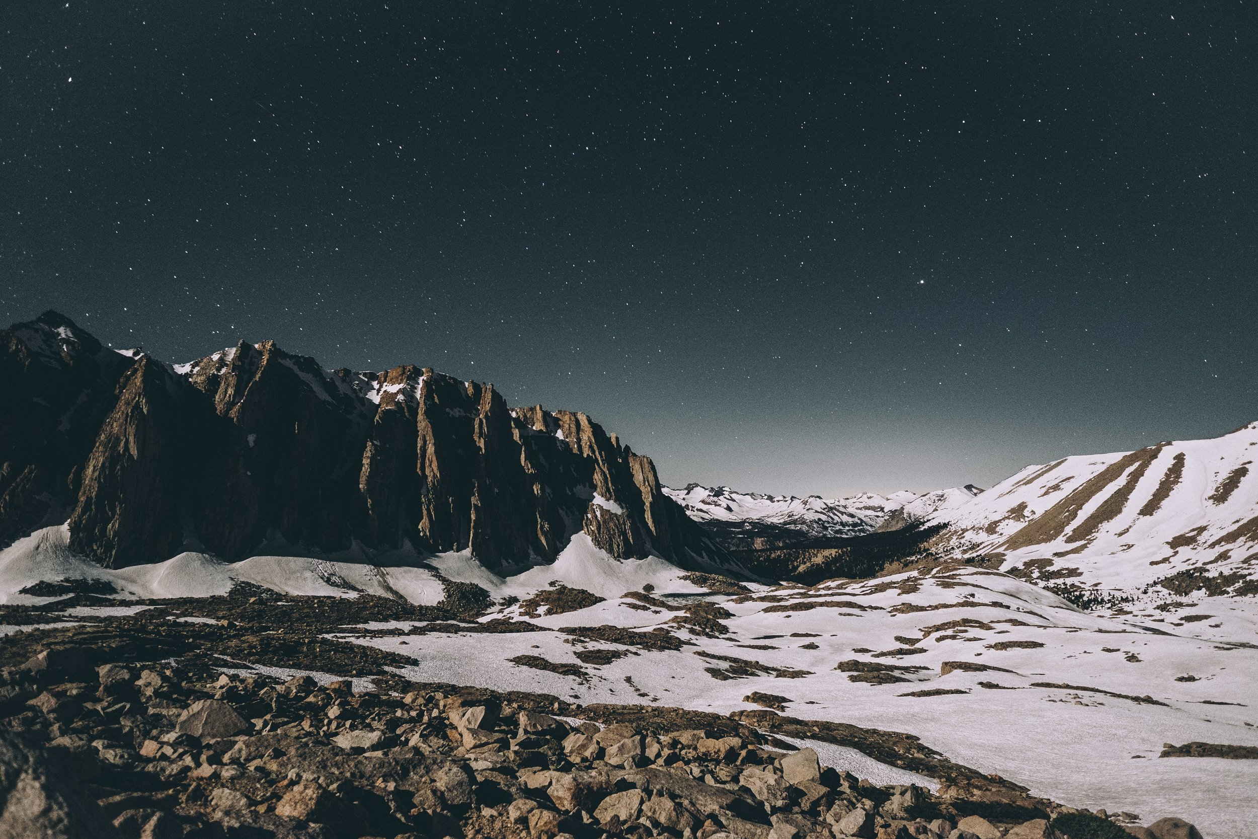 the moonlit climb up the base of whitney