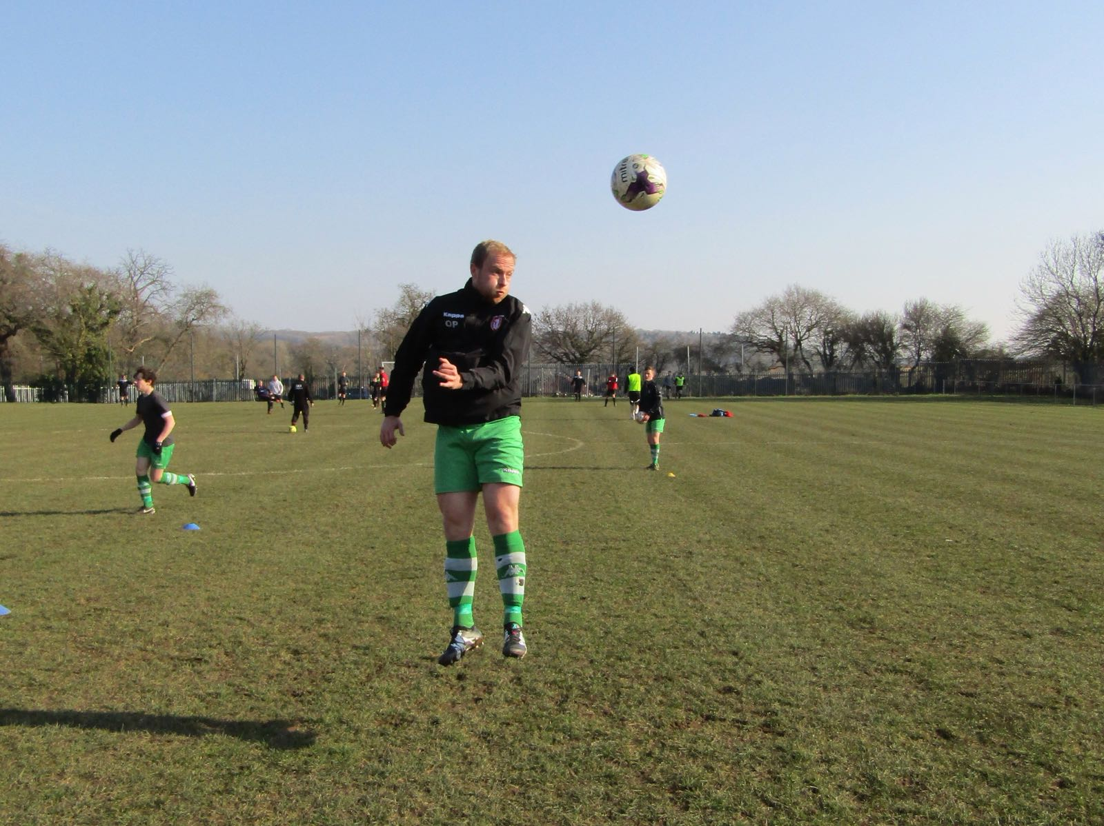 """Osh """"the Salmon"""" Pritchard during the pre-match warm-up"""