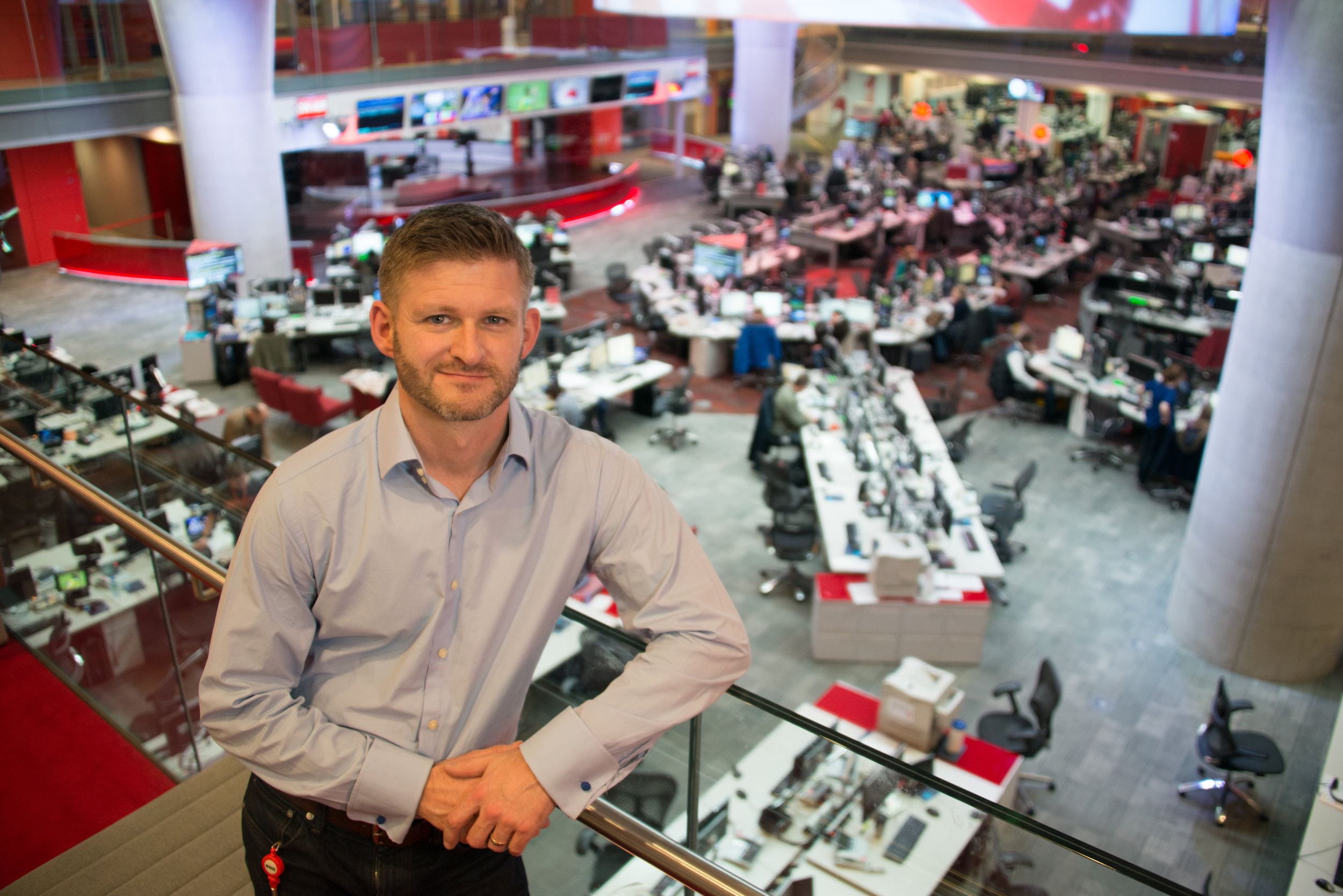 In the BBC Newsroom (London, 2014)