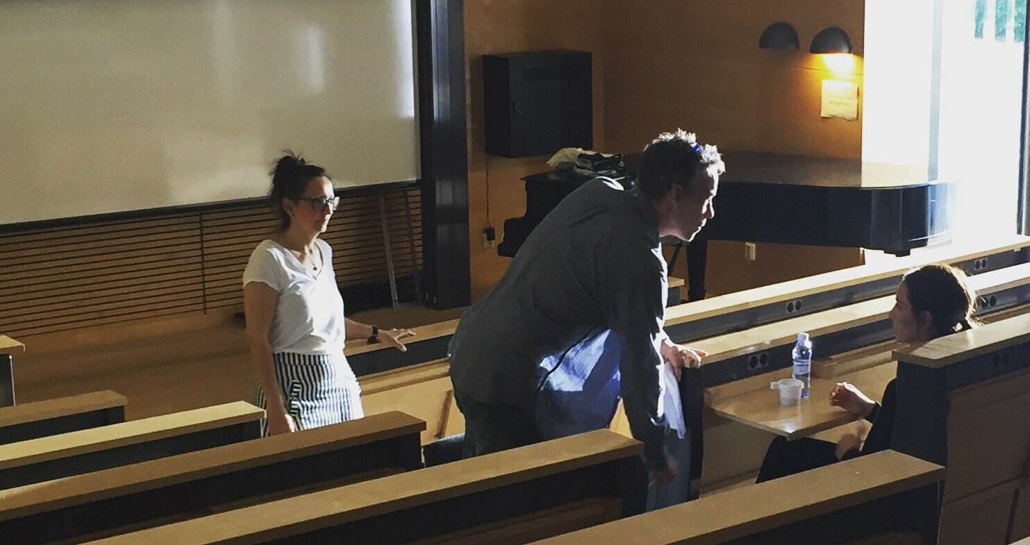 """Director Thérèse Ahlbeck and actors Figge Norling (Harald) and Alexandra Rapaport (Helena) working with one of the scenes for the pilot of """"Eggs, Flour and Sugar"""". Tiny Lumberjack copyright."""
