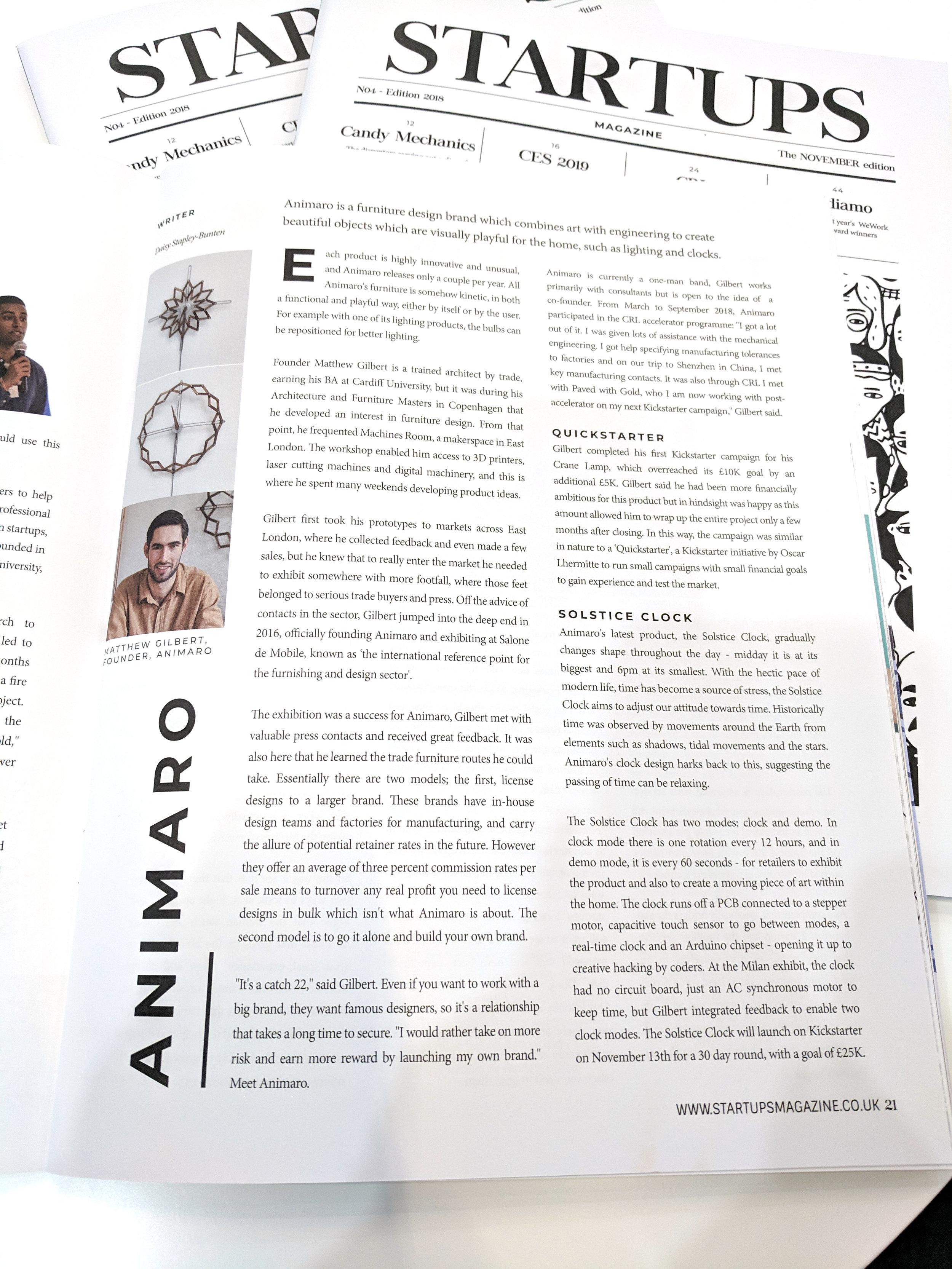 Nov 2018 - Startups Magazine