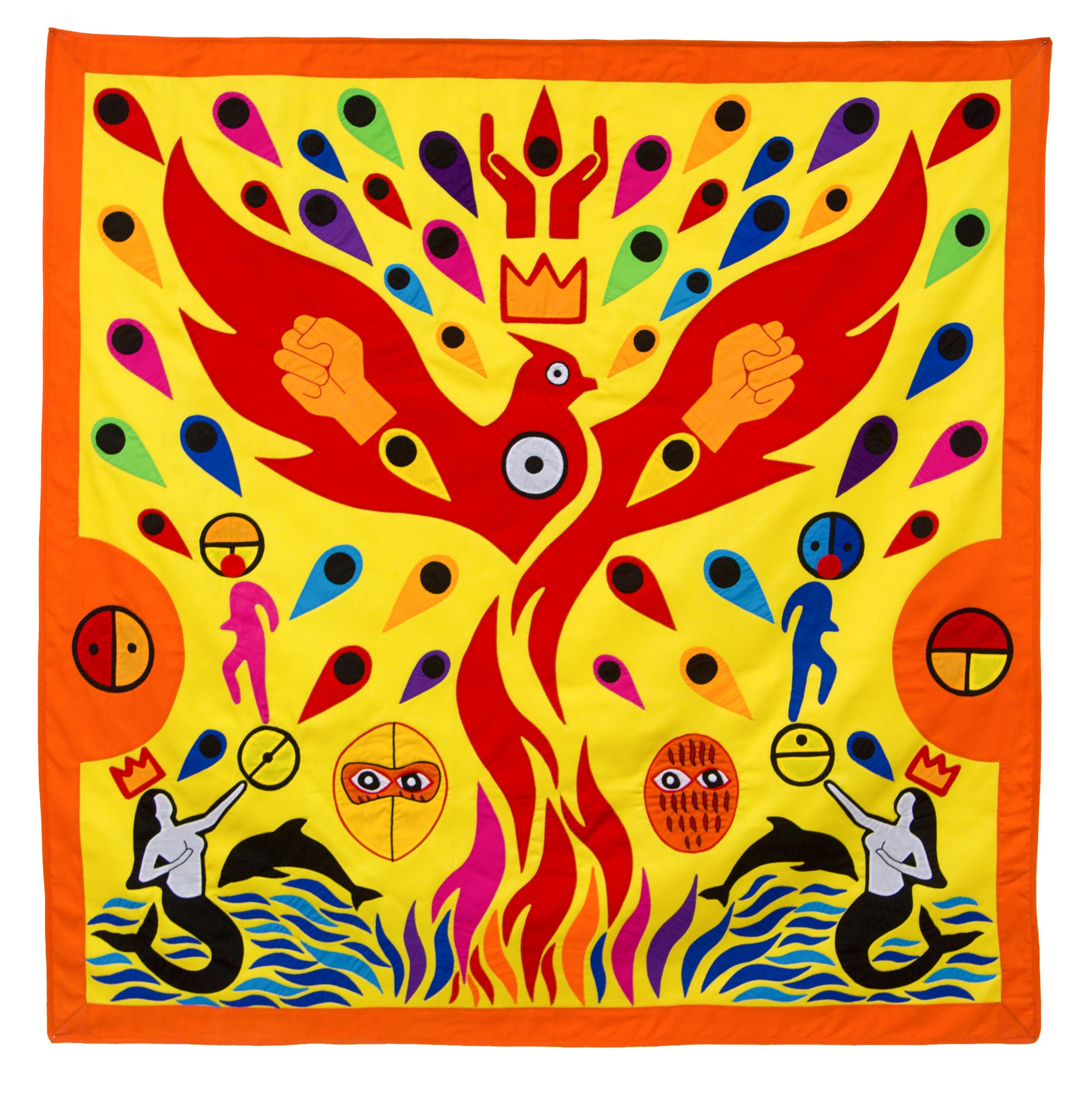 """Thus revolution turns water into flame  , 2016  Textile, NFC tags Dimensions: 120 x 120 cm  NFC tags hidden in the works send cryptic messages to the spectator's smartphones when they are held close to the fabric.  The medium of appliqué fabric, traditionally used to relate history, becomes the vehicle of non-linear narrations for the viewer to decipher and interpret, with the help of the works' titles inspired by the symbolic """"strong names"""" of the kings of Abomey."""