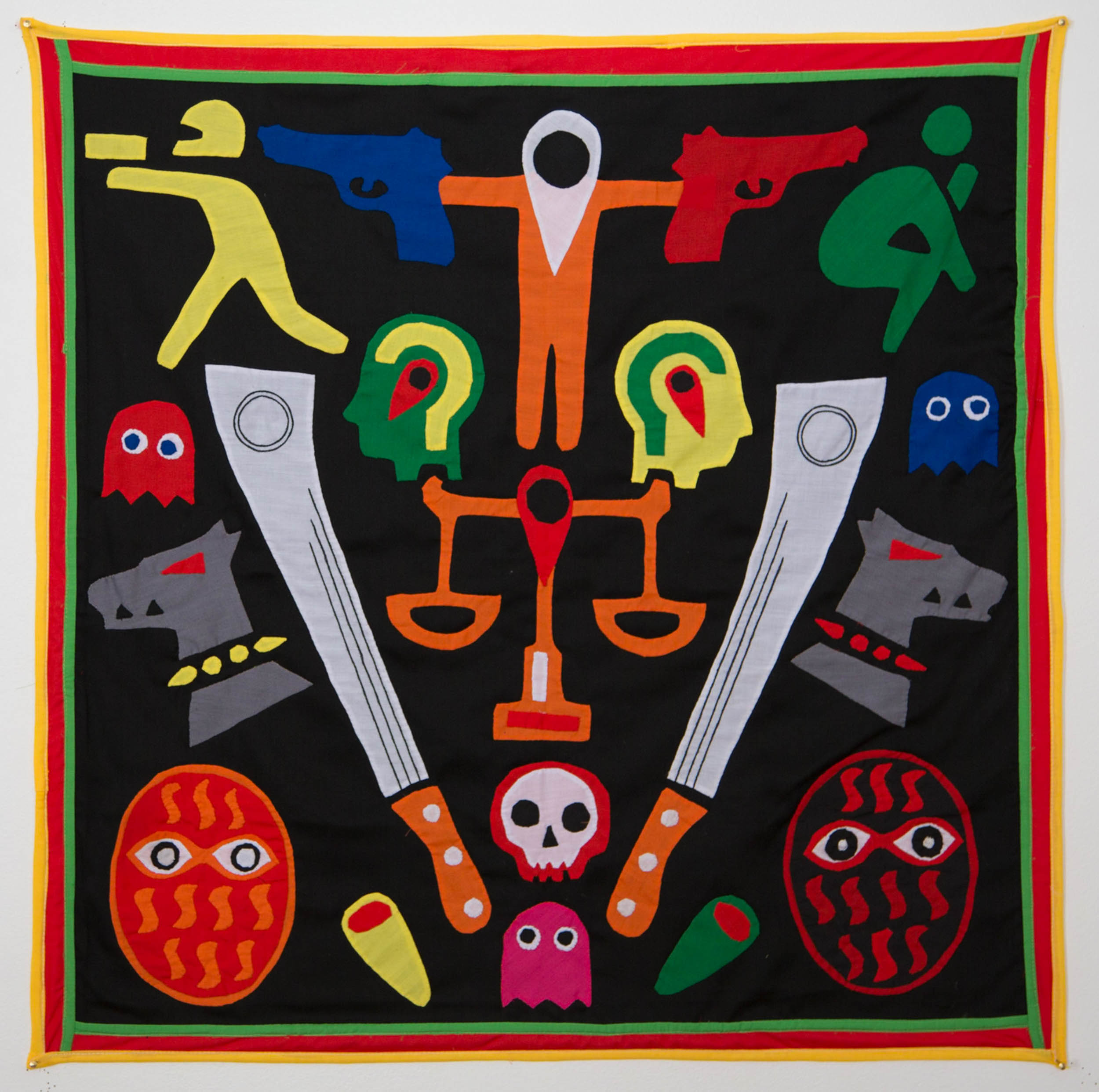 For ghosts and dogs shall fight until the end of     time,     2015  Textile, NFC tags Dimensions: 120 x 120 cm