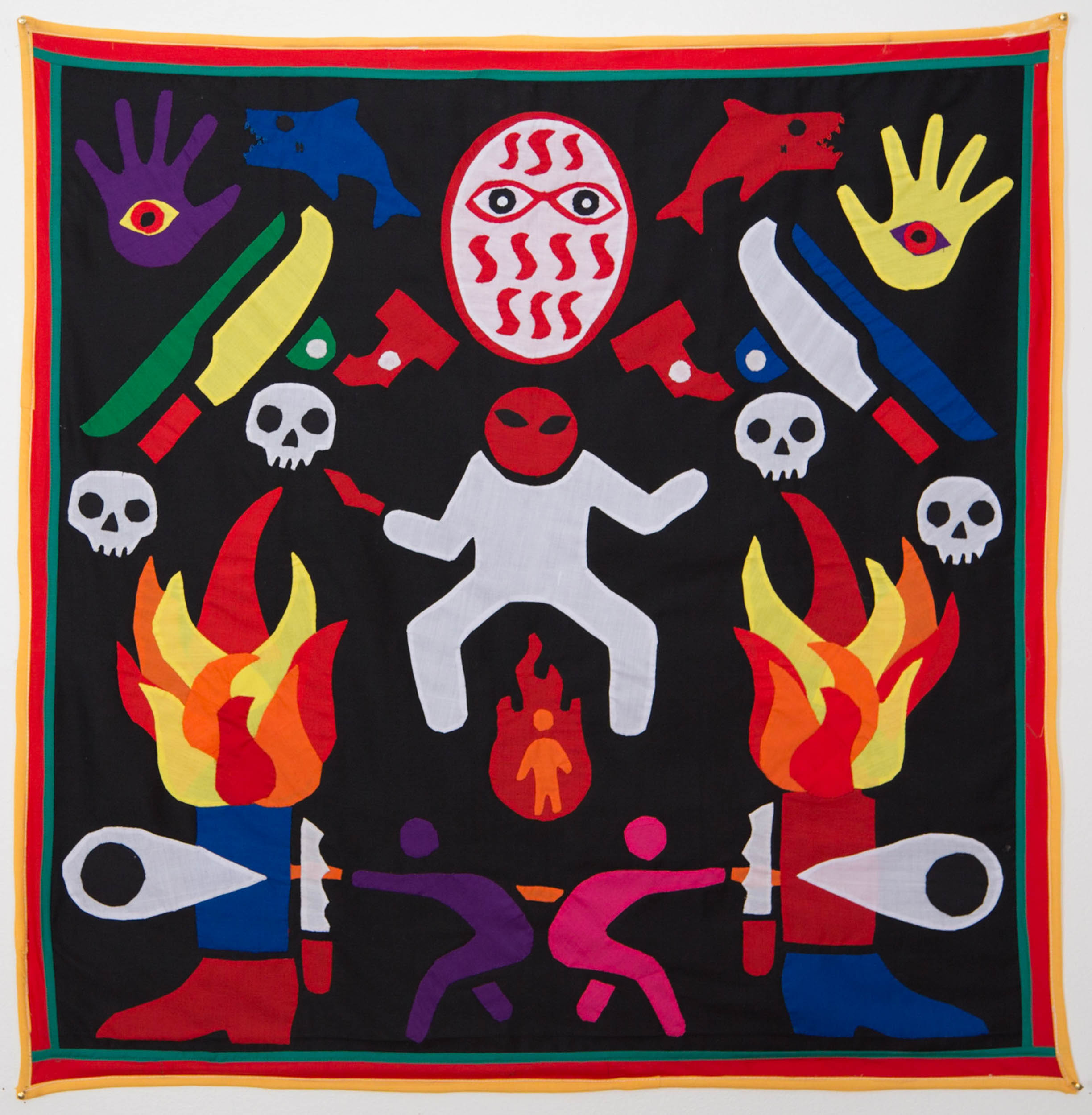 Lest anger's white shadow conquers the     fireman   ,  2015  Textile, NFC tags Dimensions: 120 x 120 cm