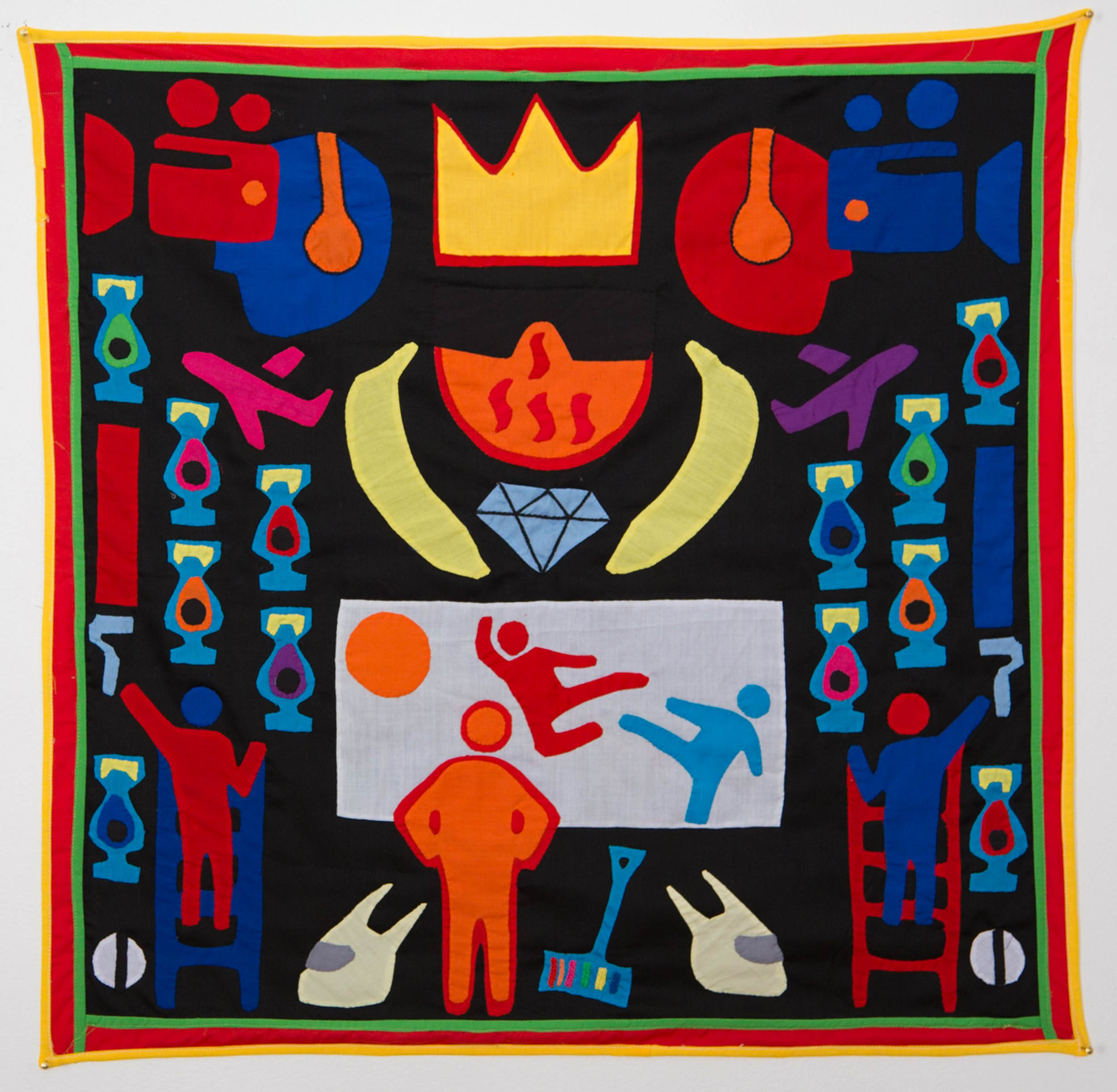 For the crown shall rest on your head, or your head on the     crown   ,  2015  Textile, NFC tags Dimensions: 120 x 120 cm