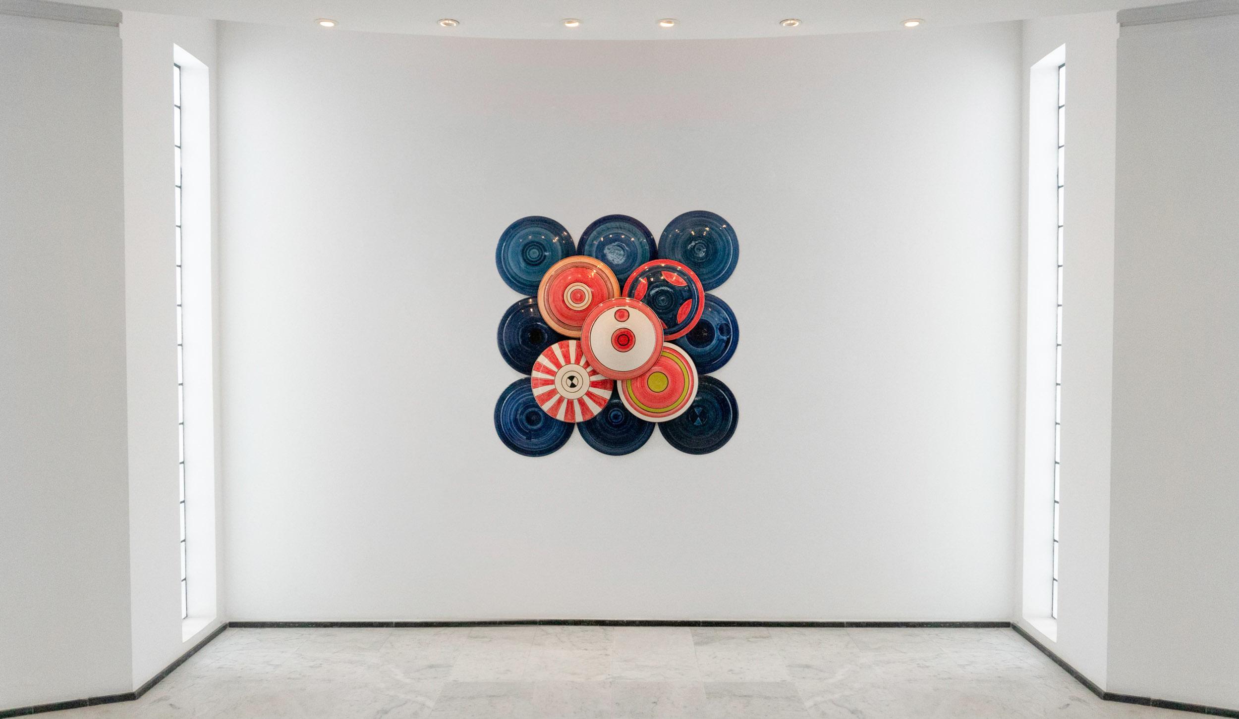 Circulations I  , 2018  Clay, pigments, wood Dimensions: 136 x 136 cm