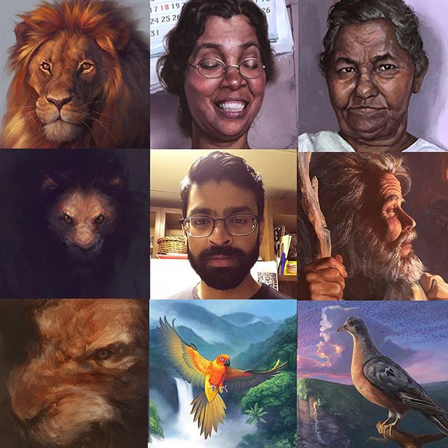 #ArtvsArtist My top 8 favorite paintings I've done so far vs. me! Is my artwork changing or is the artwork changing me!? 😧 . . . #ArtvsArtist2019 #illustration #illustrator  #artistoninstagram #art #instaartist #instaart #artoftheday #painting #digitalpainting #digitalart #wildlife #rainforest #nature #ornithology #birds #parrot #NY #NYC #landscape #birdsofinstagram #Tbt #freelanceillustrator #illustratorsofinstagram #lions #portraits #characterdesign #selfie #beardgang