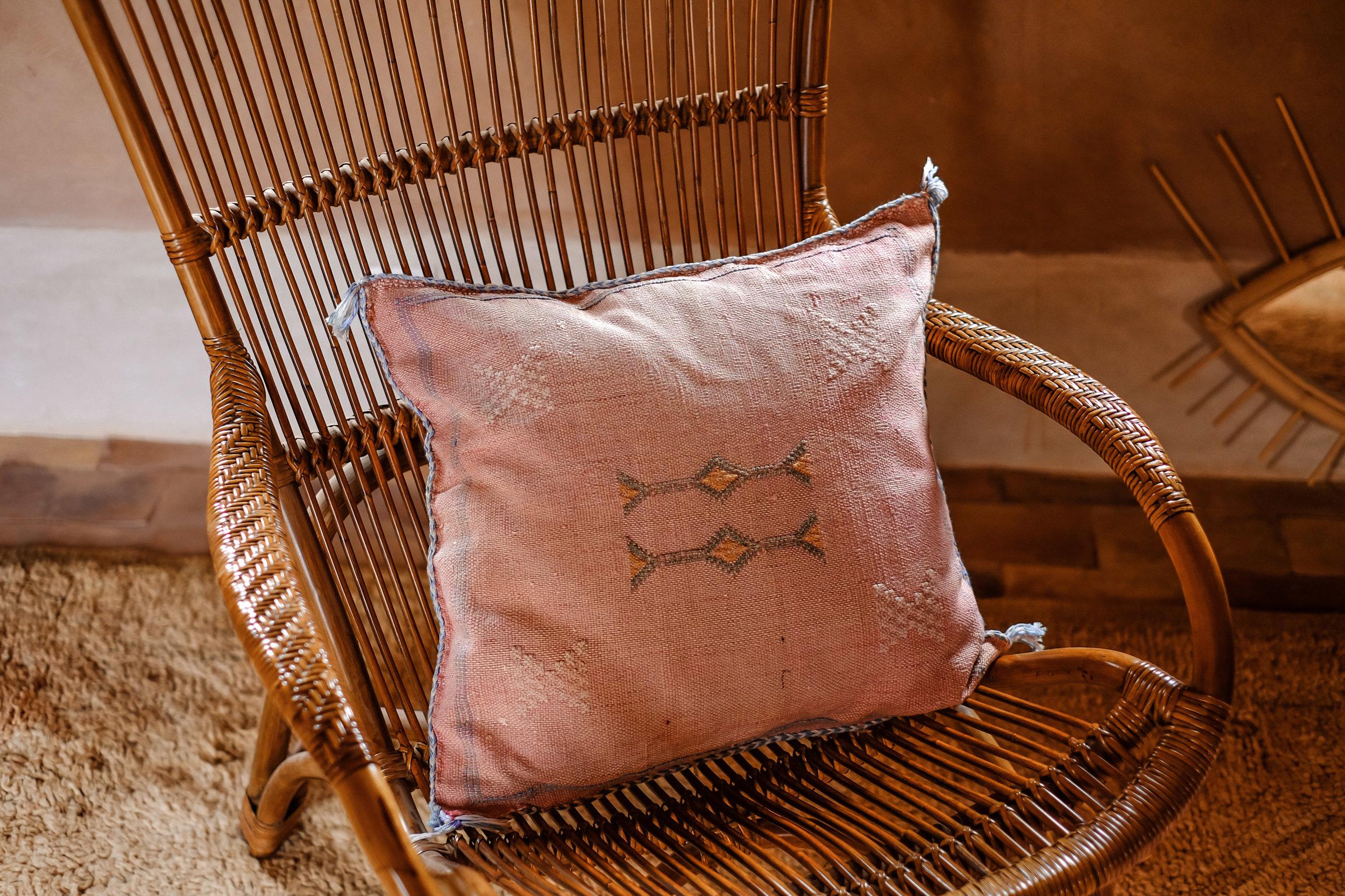 cushions + lumbars - cactus silk and camels wool sabra pillows.