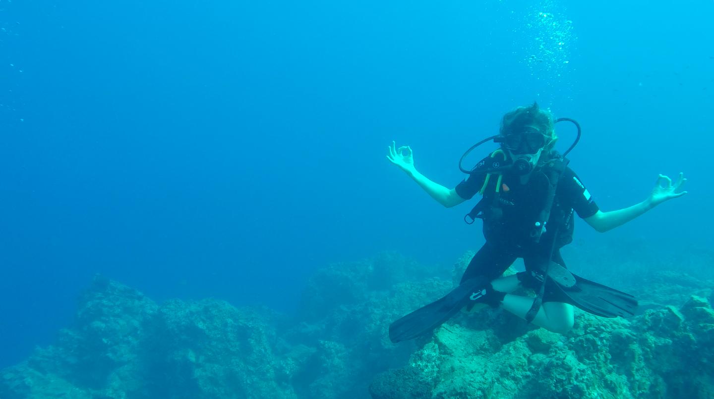 Un poquito de loto bajo el agua en St. George's Island.