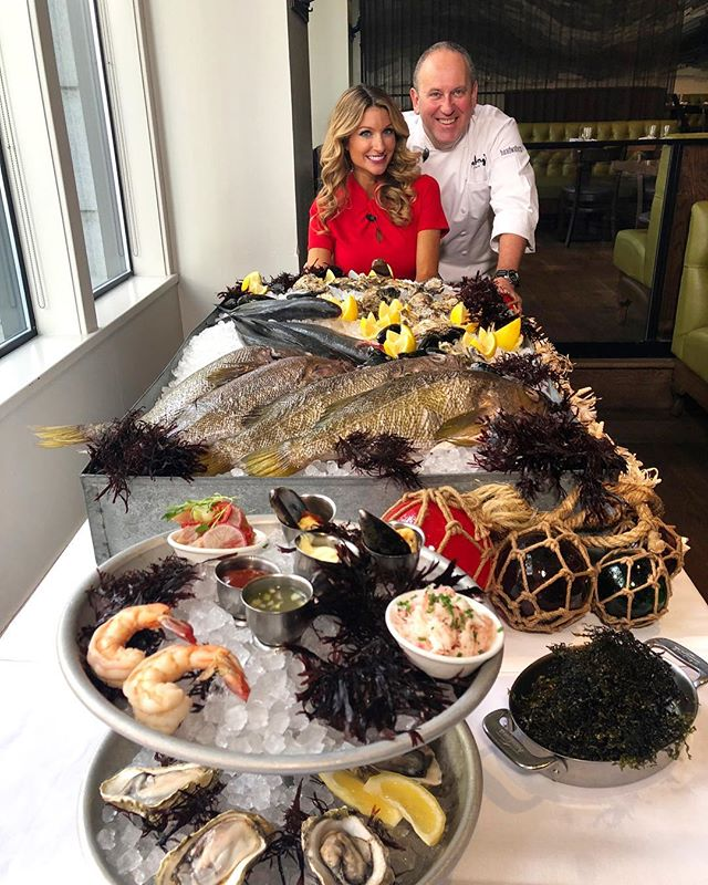 Today @kgwnews got a sneak peek of Friday's seafood feast with chefs @vit0bike and @billtelepan of @oceananyc 🐟 Thank you to the always lovely @mckinzieroth for spending the afternoon with us at Headwaters!⠀ ⠀ #HeadwatersPDX #pdx #portland #downtownpdx #pdxdining #pdxeats #pdxnow #eaterpdx #eater #travelportland #seafood #chefsofinstagram #onthetable #happeninginportland