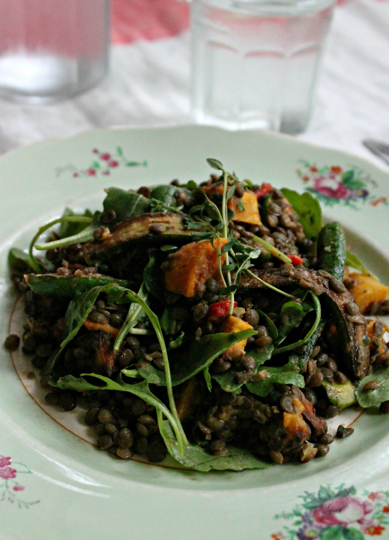 Sweet potato and lentil salad
