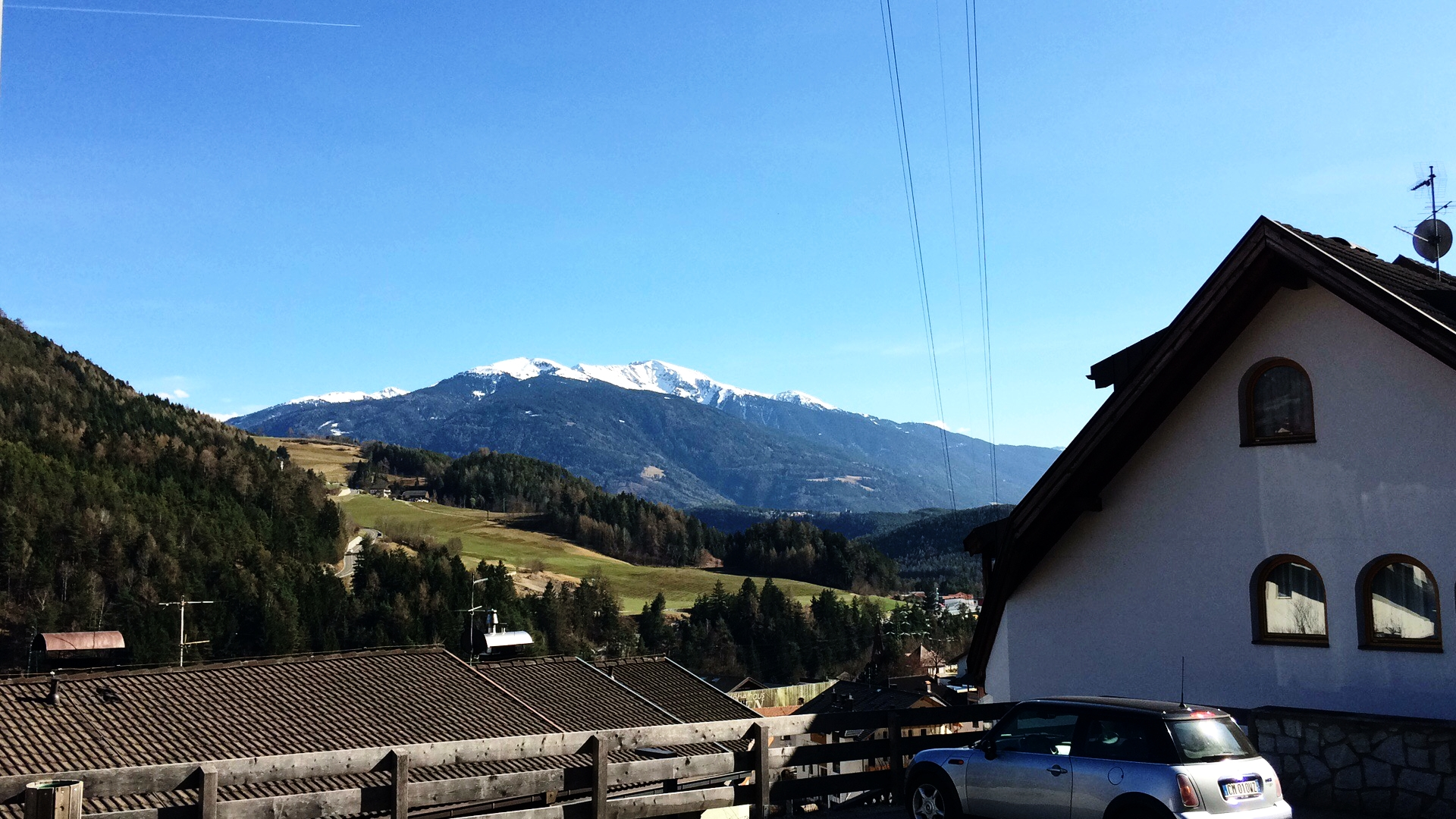 Our last sunny morning in South Tyrol - the view from in front of Christian's family home in Mühlbach, South Tyrol.