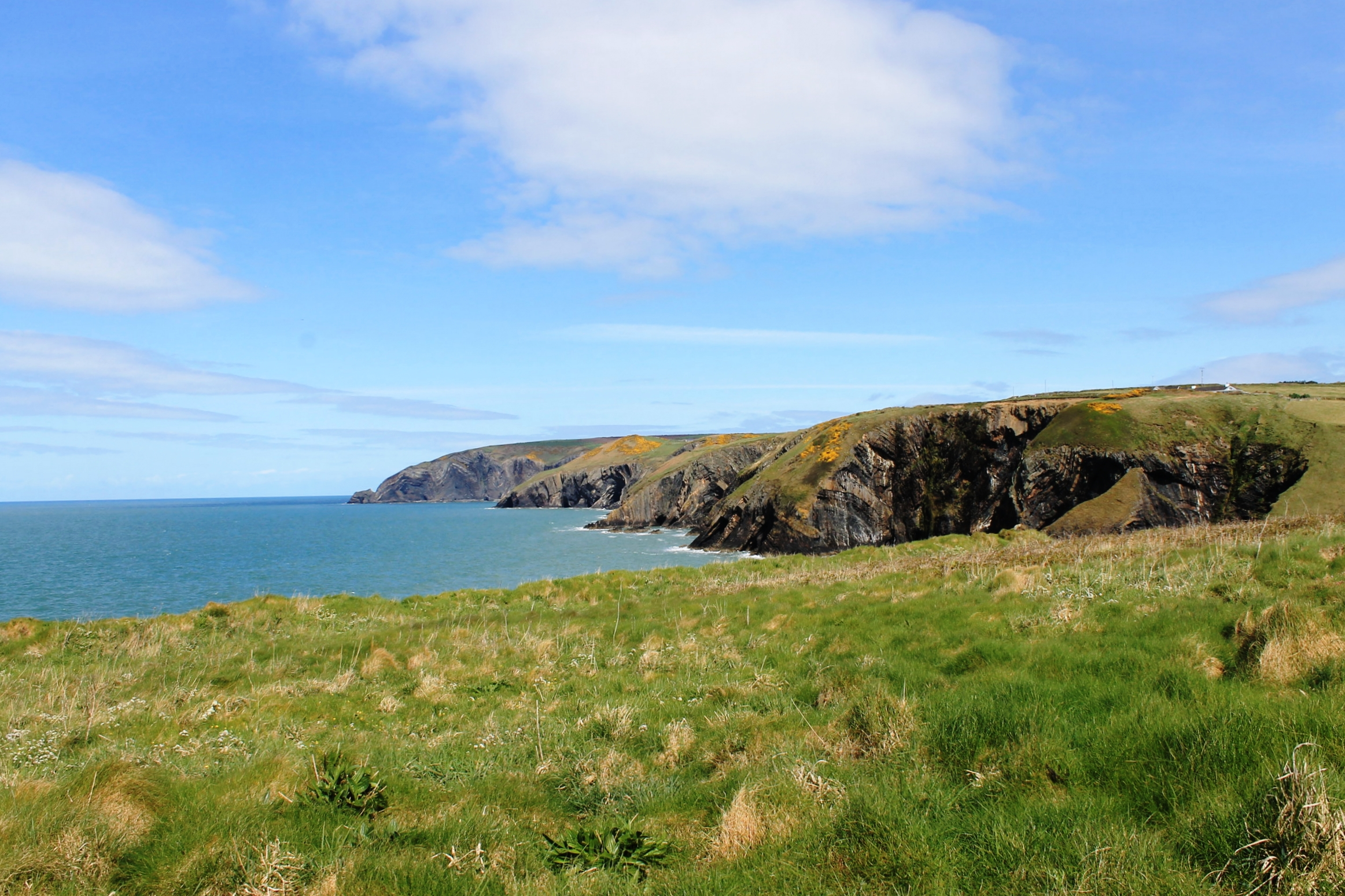 View of the Witches Cauldron on the Pembrokeshire Coast Path near Moylegrove, where we had a picnic on the grass