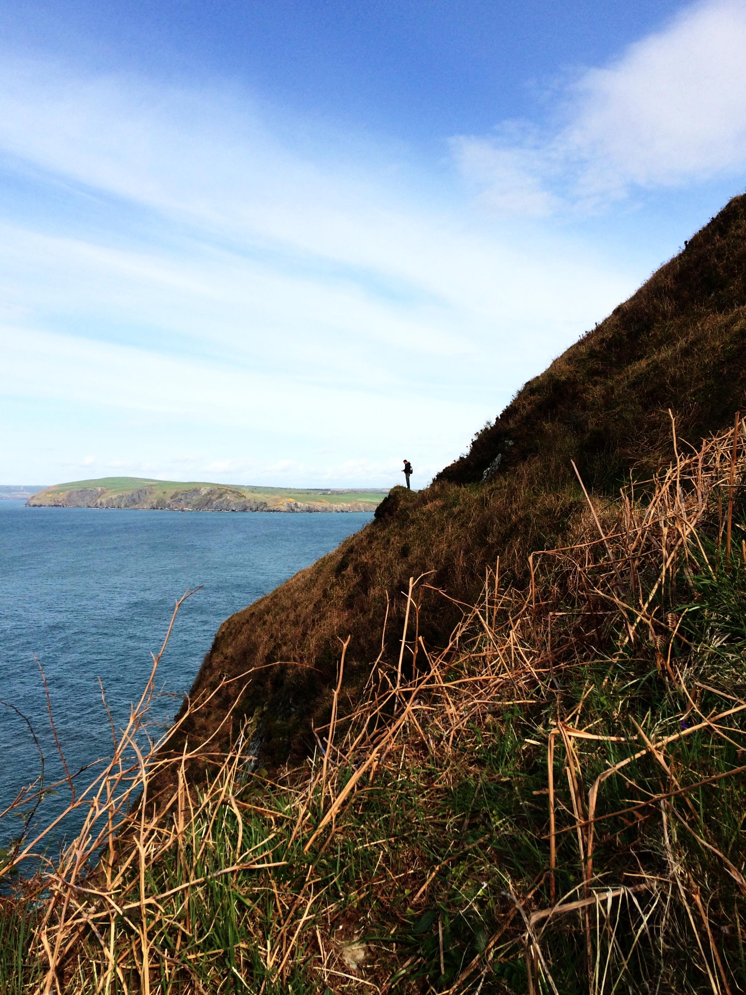 Christian on the Pembrokeshire Coast Path at Dinas Head