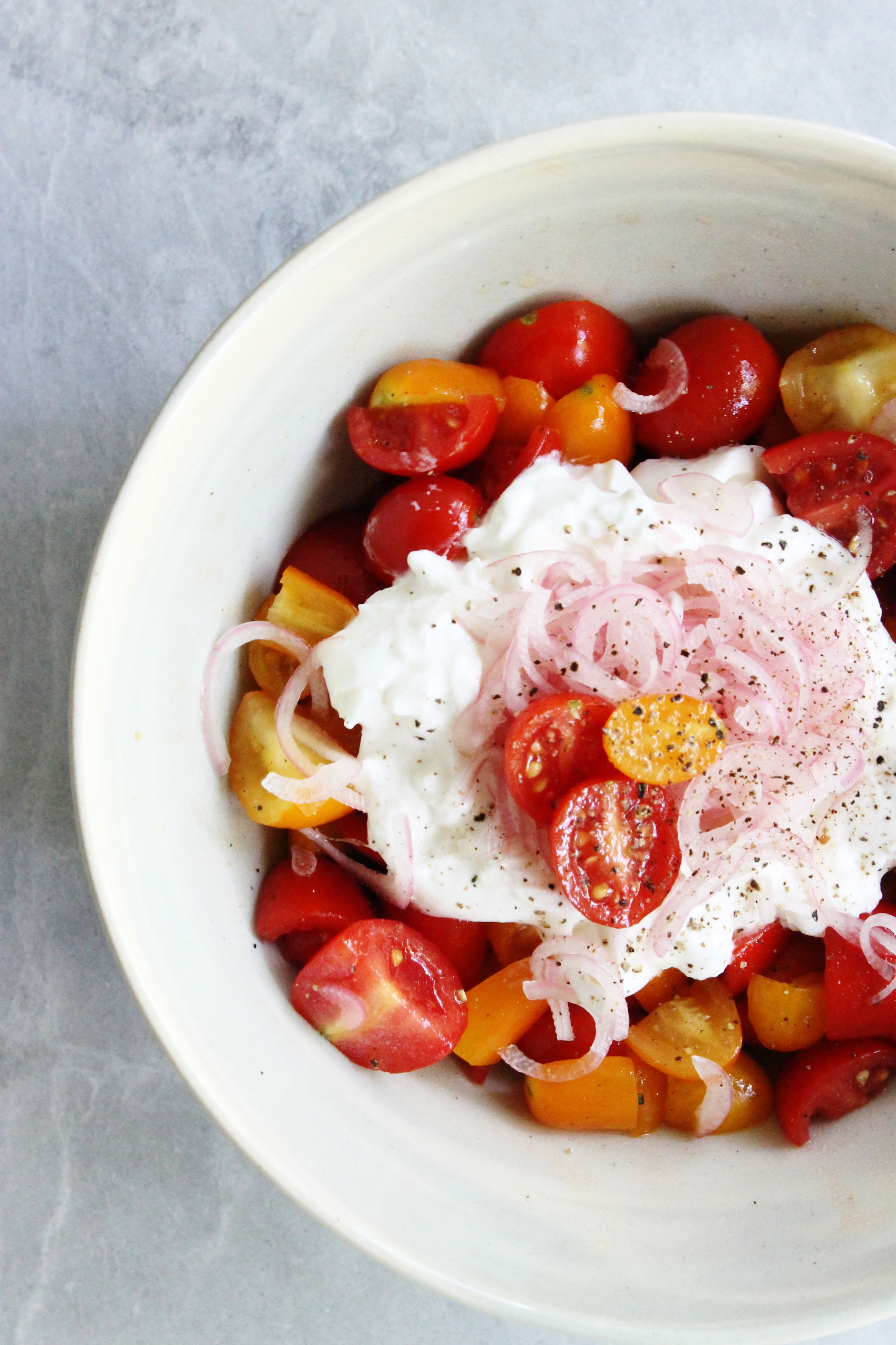 Heirloom tomato salad with burrata and pickled shallots   Beloved Kitchen
