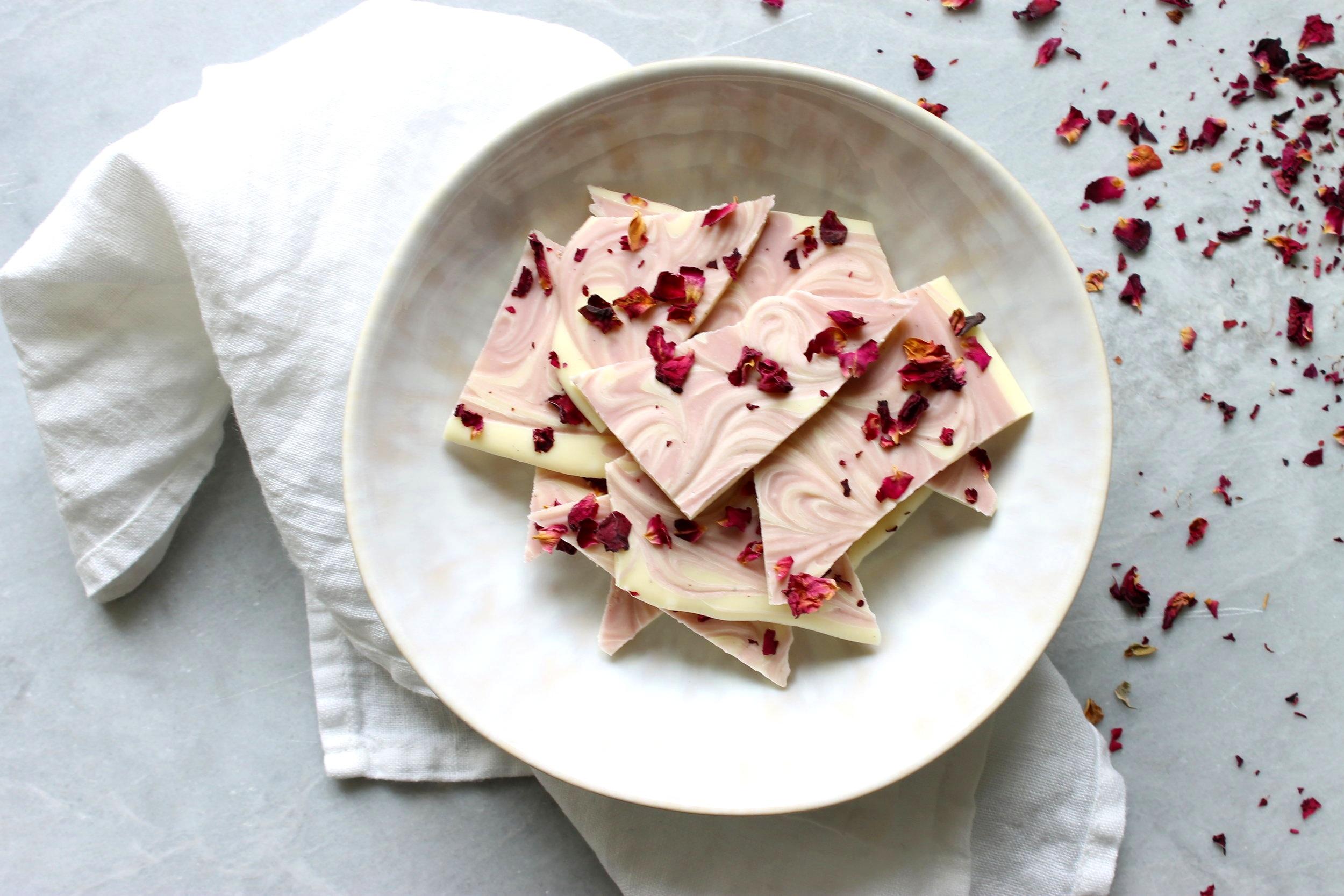Maraschino cherry and rose white chocolate bark {gluten free}