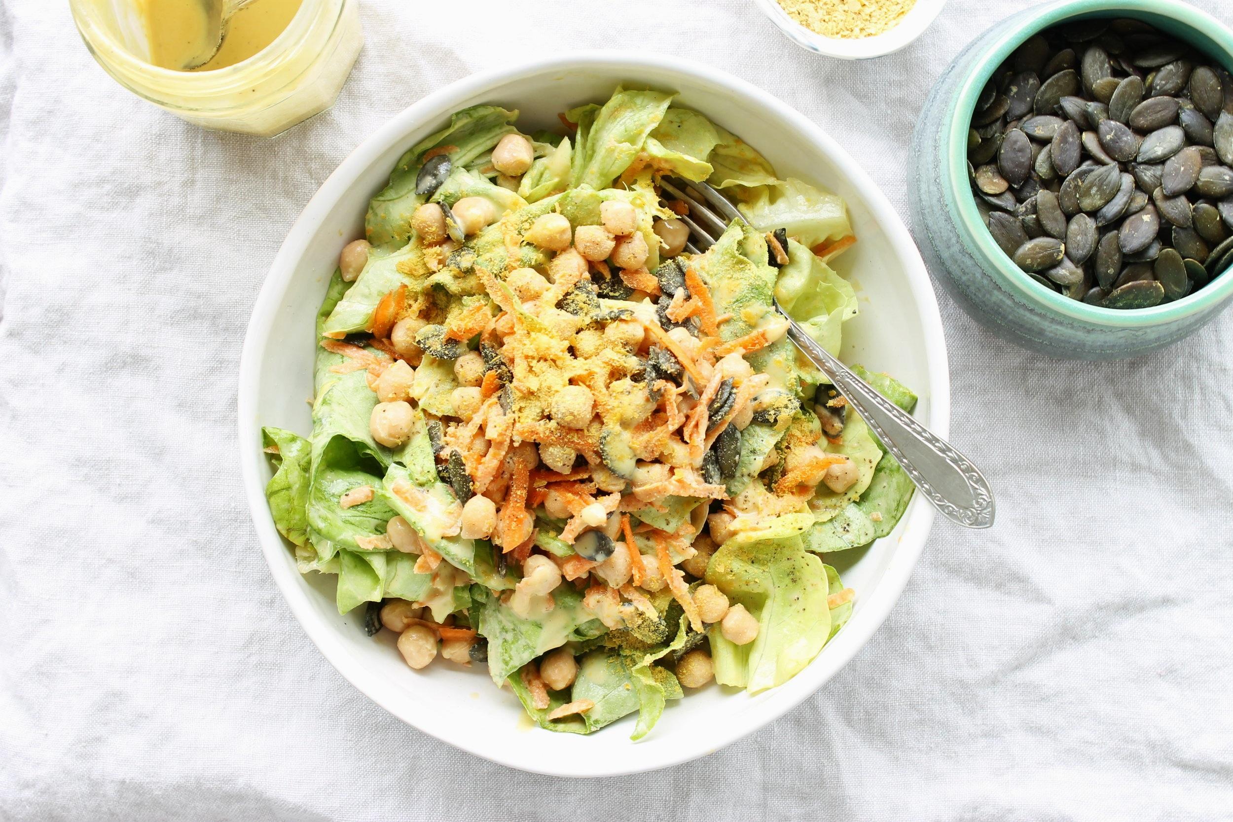 Supergreen salad with creamy cashew dressing | Beloved Kitchen