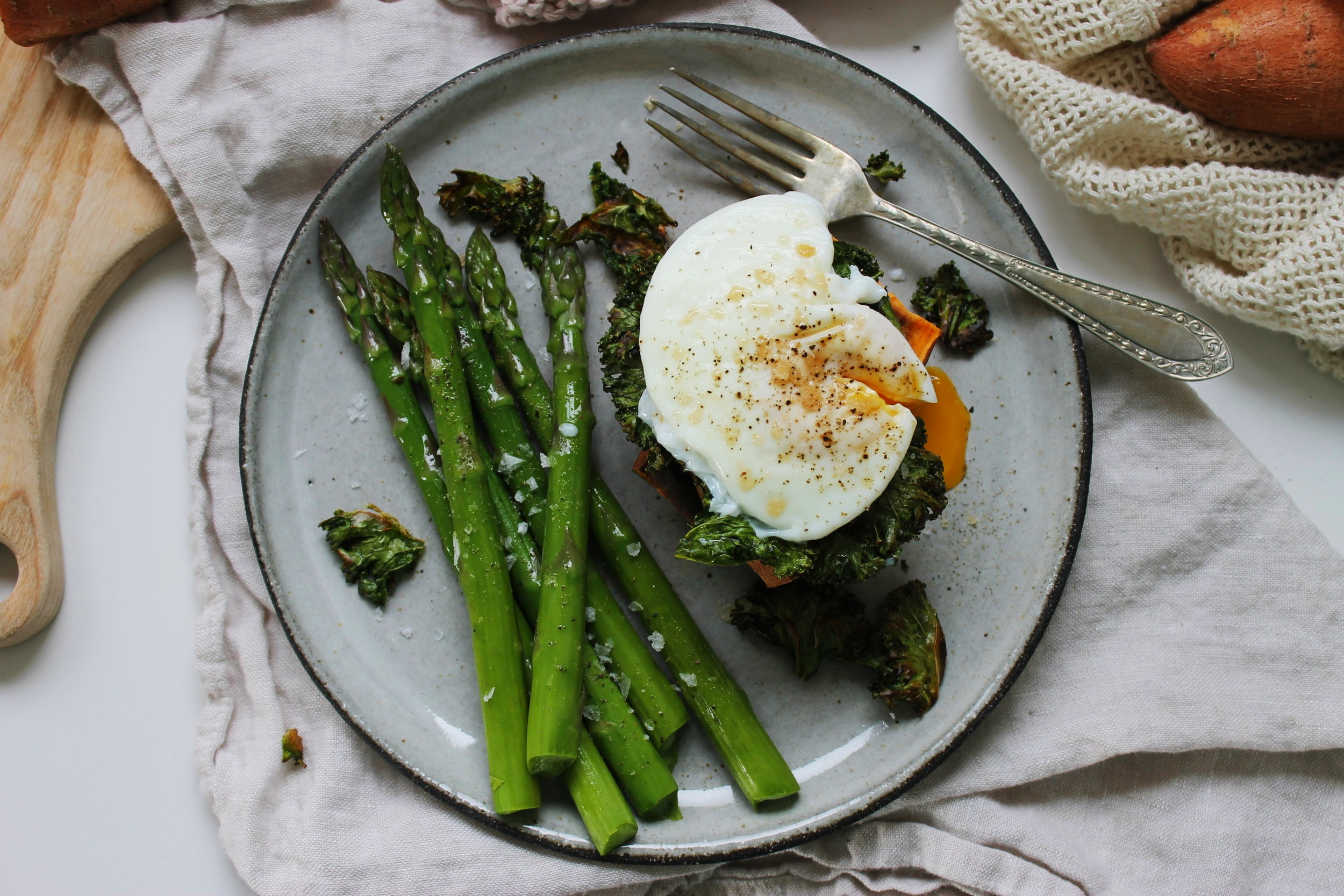 Sweet potato stacks with crispy kale and poached eggs | Beloved Kitchen