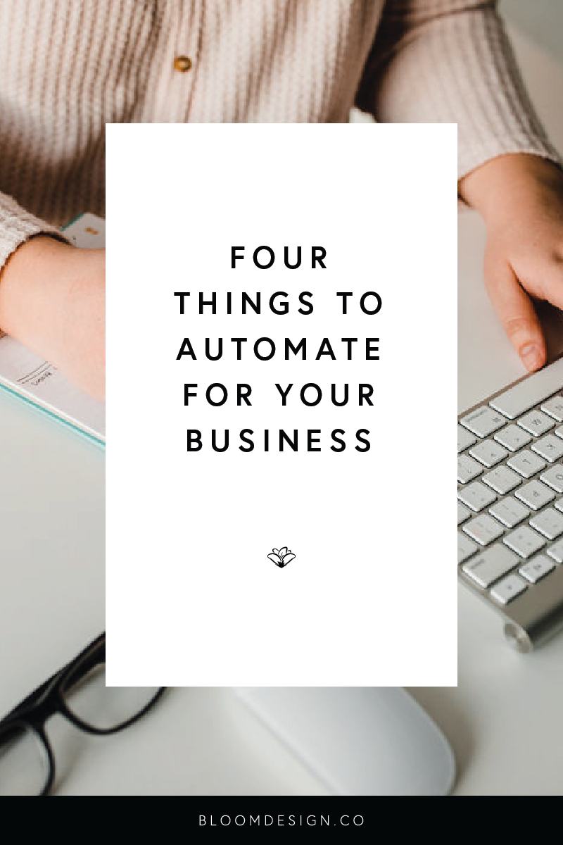 When you're balancing your creative side hustle with other things like a full-time job, a family, etc., the name of the game is efficiency and automation. Here are four things you can easily start automating in your business with just a little time and effort spent at the beginning to get things underway. #girlboss #momboss #bossbabe #momtrepreneur #creativepreneur #smallbusiness #sidehustle #sidegig #sahm #wahm #workfromhomemom #graphicdesign #branding #etsy #etsyshop #etsyseller #pricing #productpricing
