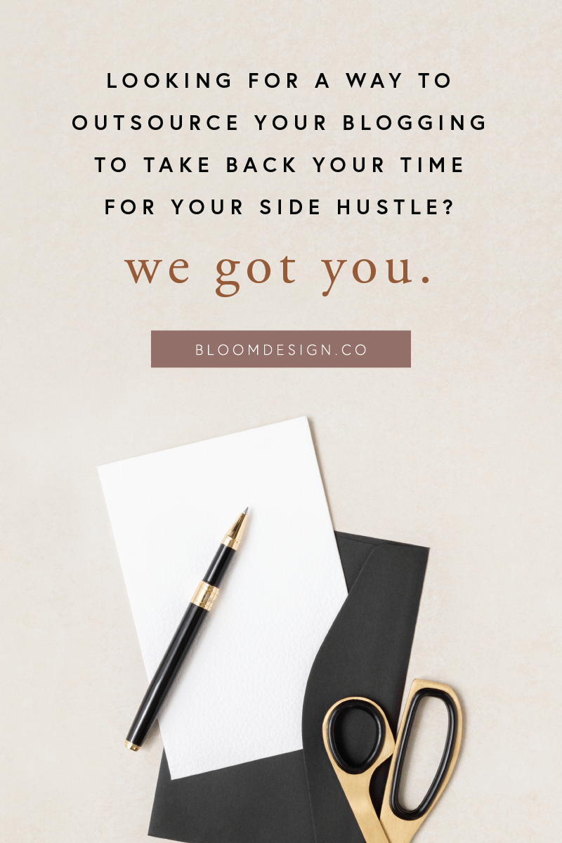 Feel like you could improve your SEO efforts if only you had the time? Let us blog for you! We'll put out regular posts on your website based on your content, client sessions, and latest projects or offerings to help you rank in search engine results faster to grow your online audience for your side hustle. #bloomdesignco #blogging #seo #virtualassistant #sidehustle #sidegig #momboss #bossbabe #va #photog #blogger