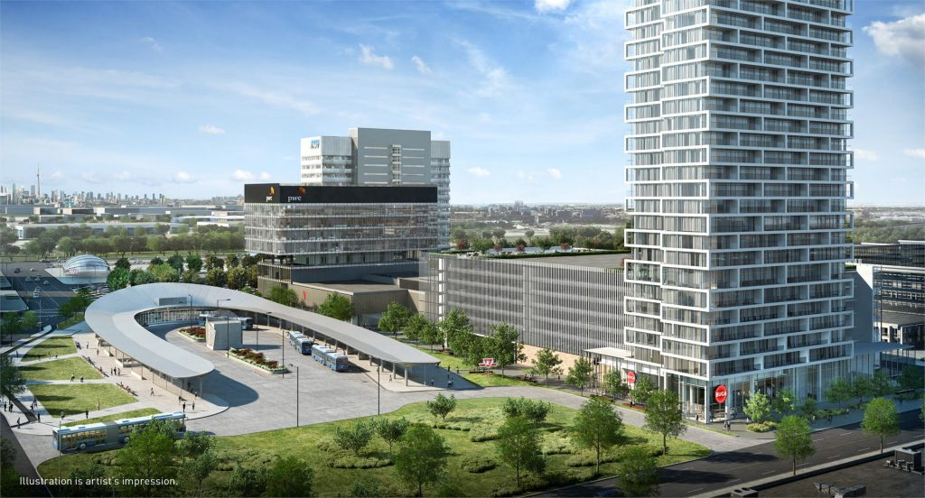 Transit City Condos - Vaughan • Centrecourt Developments and SmartreitTransit City is the first residential complex to be developed at SmartCentres Place -- a 55 storey condominium with 551 units. Estimated completion date set for 2020.