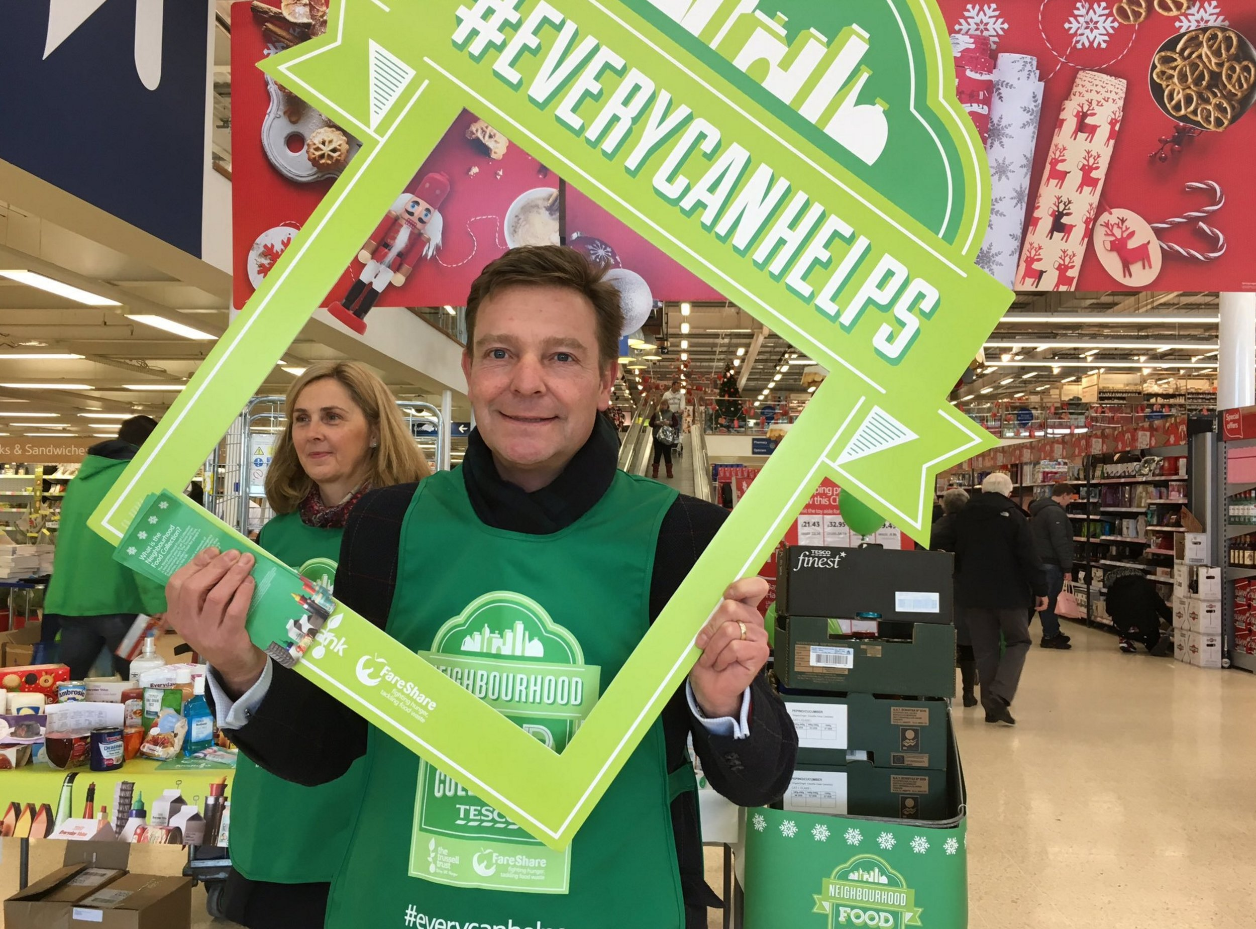 Craig taking part in the #EveryCanHelps campaign at Tesco, Westwood Cross for Trussell Trust Food Bank