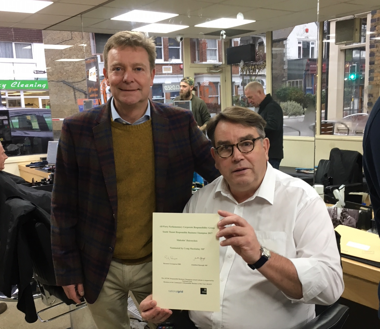 CM with Malcolm - South Thanet Constituency Responsible Business Champion 2017 Nov17.jpg