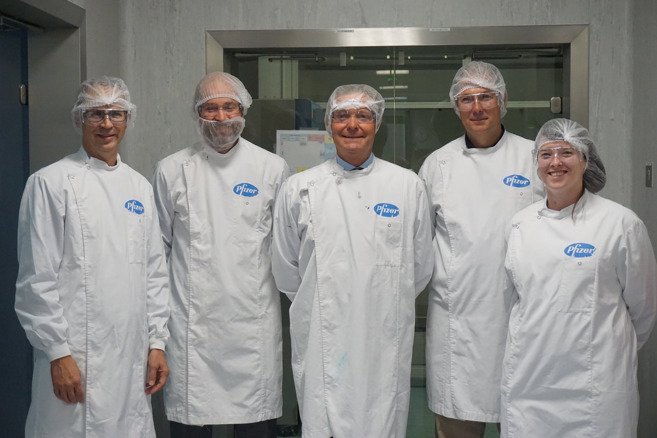 Craig with Pfizer representatives in the Continuous Mixing Technology facility