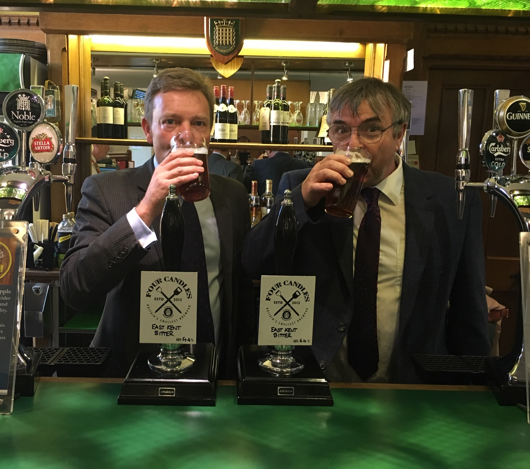 Craig with Four Candles Alehouse in Broadstairs boss, Mike Beaumont, behind the Strangers' Bar in Parliament