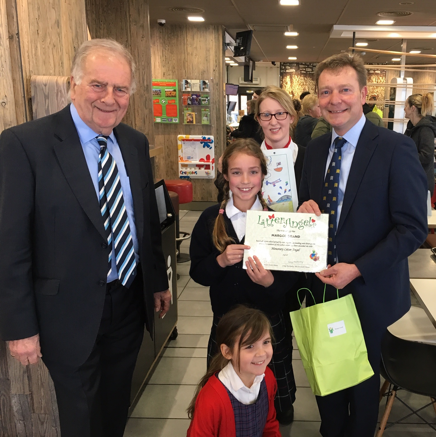 Sir Roger Gale and Craig with previous Litter Angel winner, Wellesley House Year 5 Pupil, Margot
