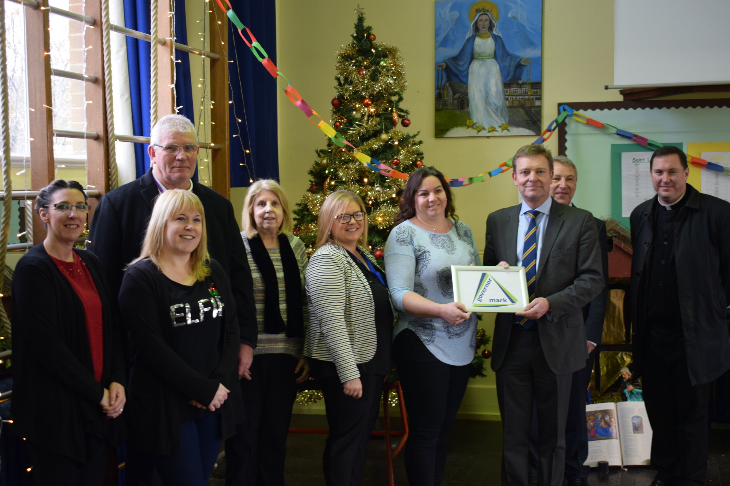 Craig presenting school governors at St Ethelbert's Catholic Primary and Nursery School in Ramsgate with their Governor Quality Mark award