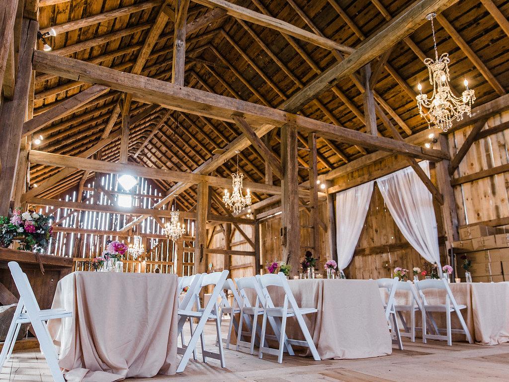 Reception hall at the wedding barn