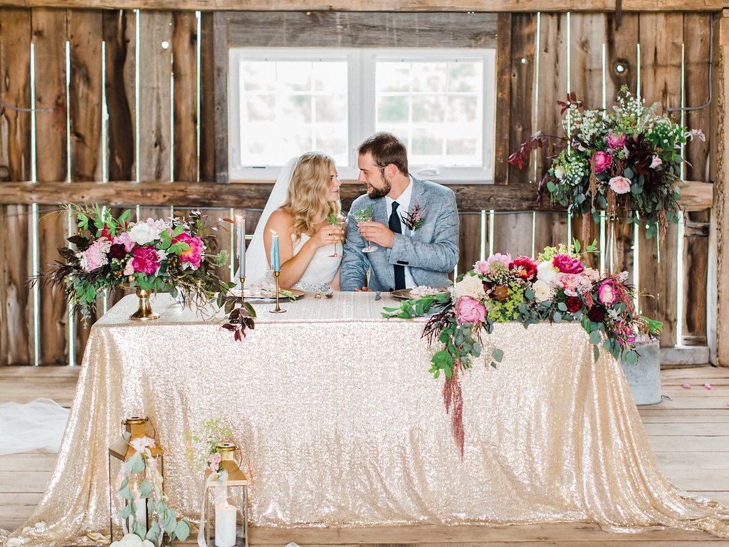Couple toasting at the table
