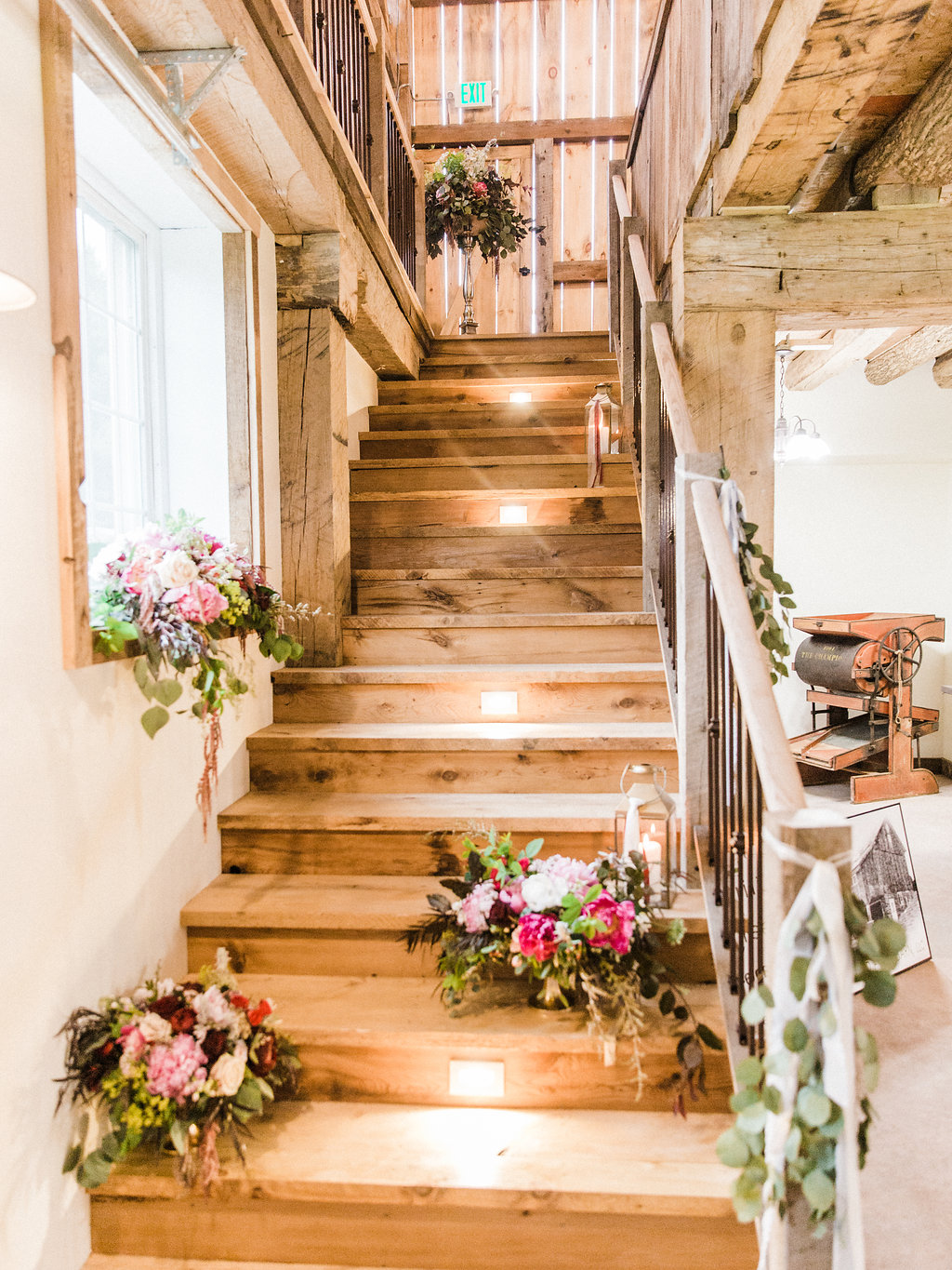 Staircase inside the barn