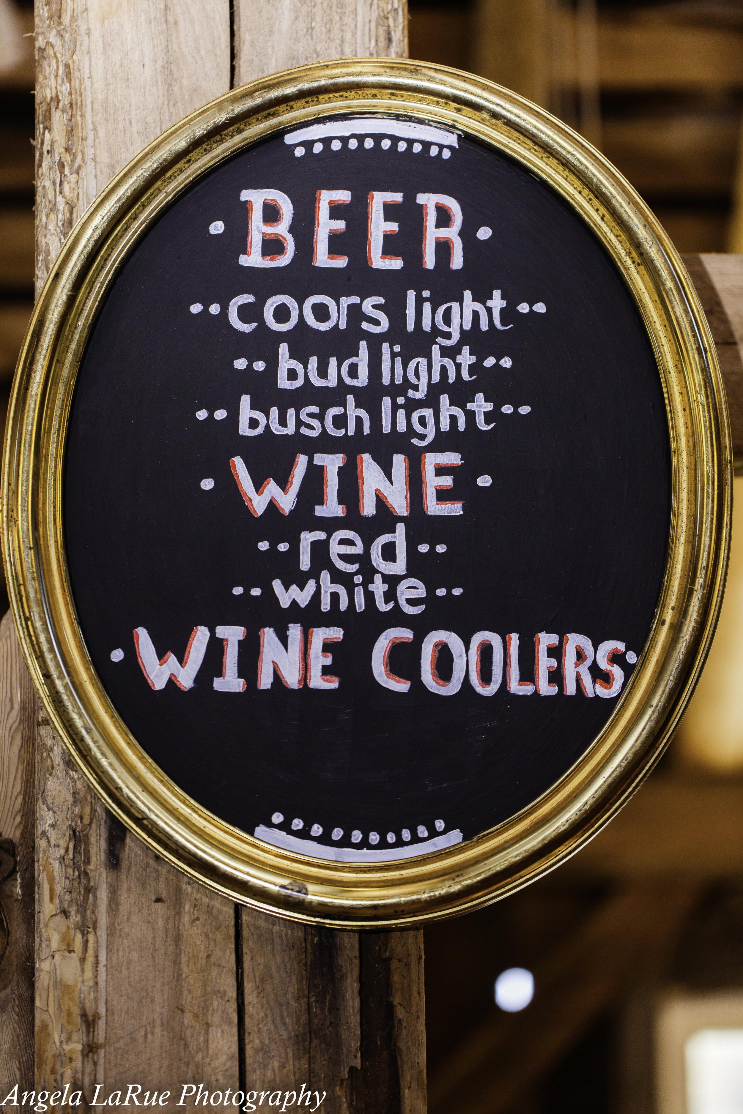 Shabby chic drink menu