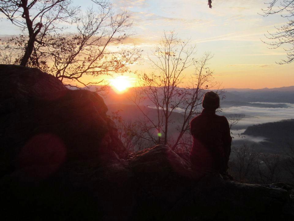Watching the sunrise in Tennessee (near Fontana Dam).