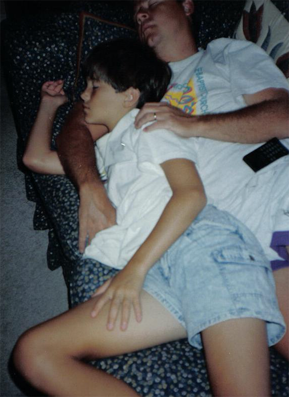 Sneaky mom must have snapped this pic of me and dad napping. Probably 1989 or so...