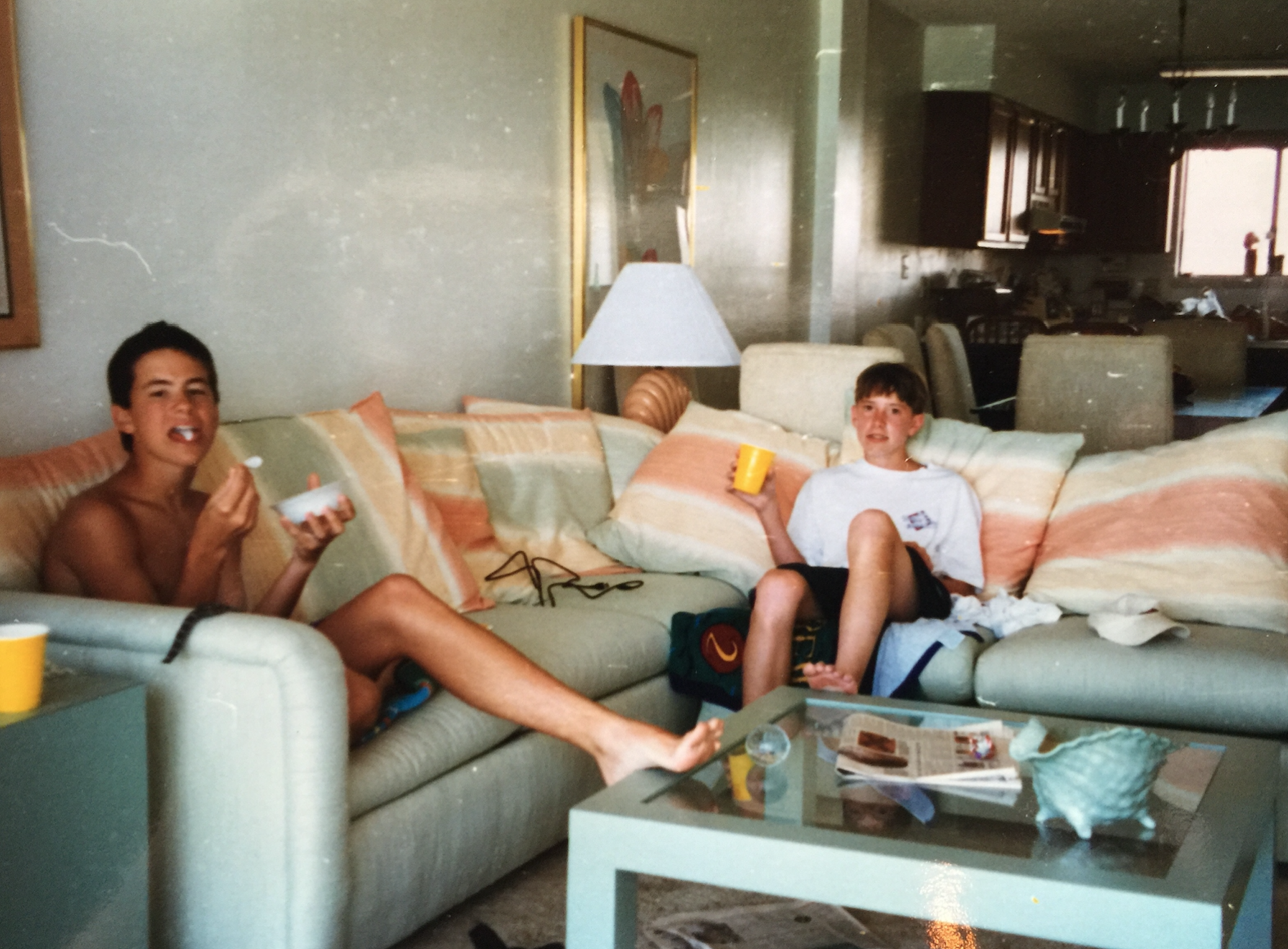 A shot from that beach trip. Me on left, my buddy Tom on the right, 90s beach condo ephemera all around.
