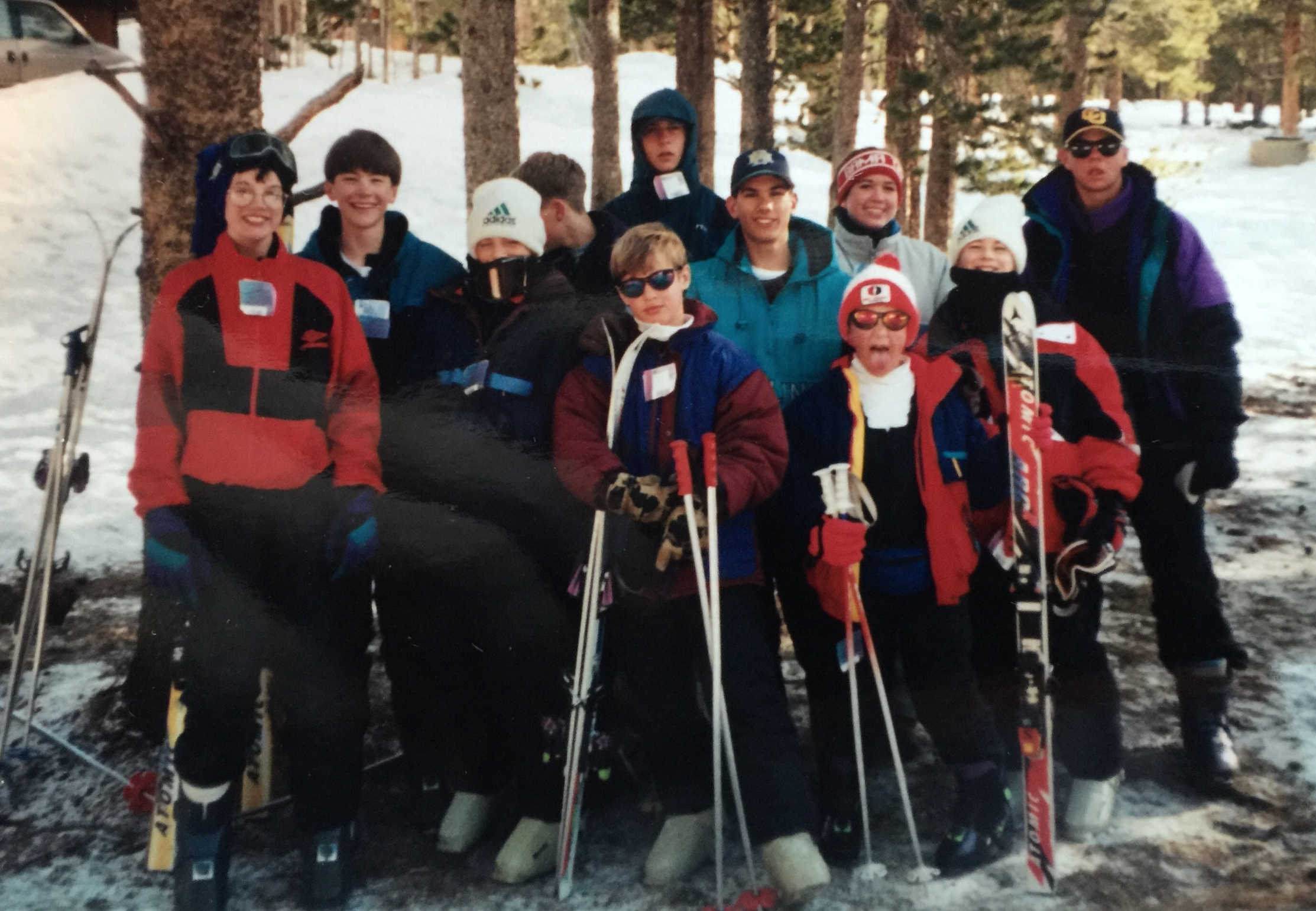 I think this was our first ski trip to Winter Park, Colorado. 1995 maybe? I'm top left, turquoise jacket.