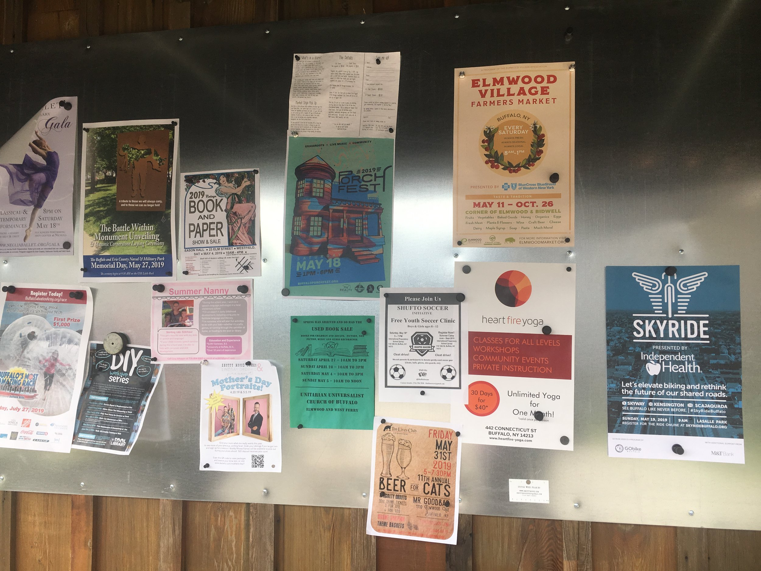 The community bulletin board at Five Points Bakery.